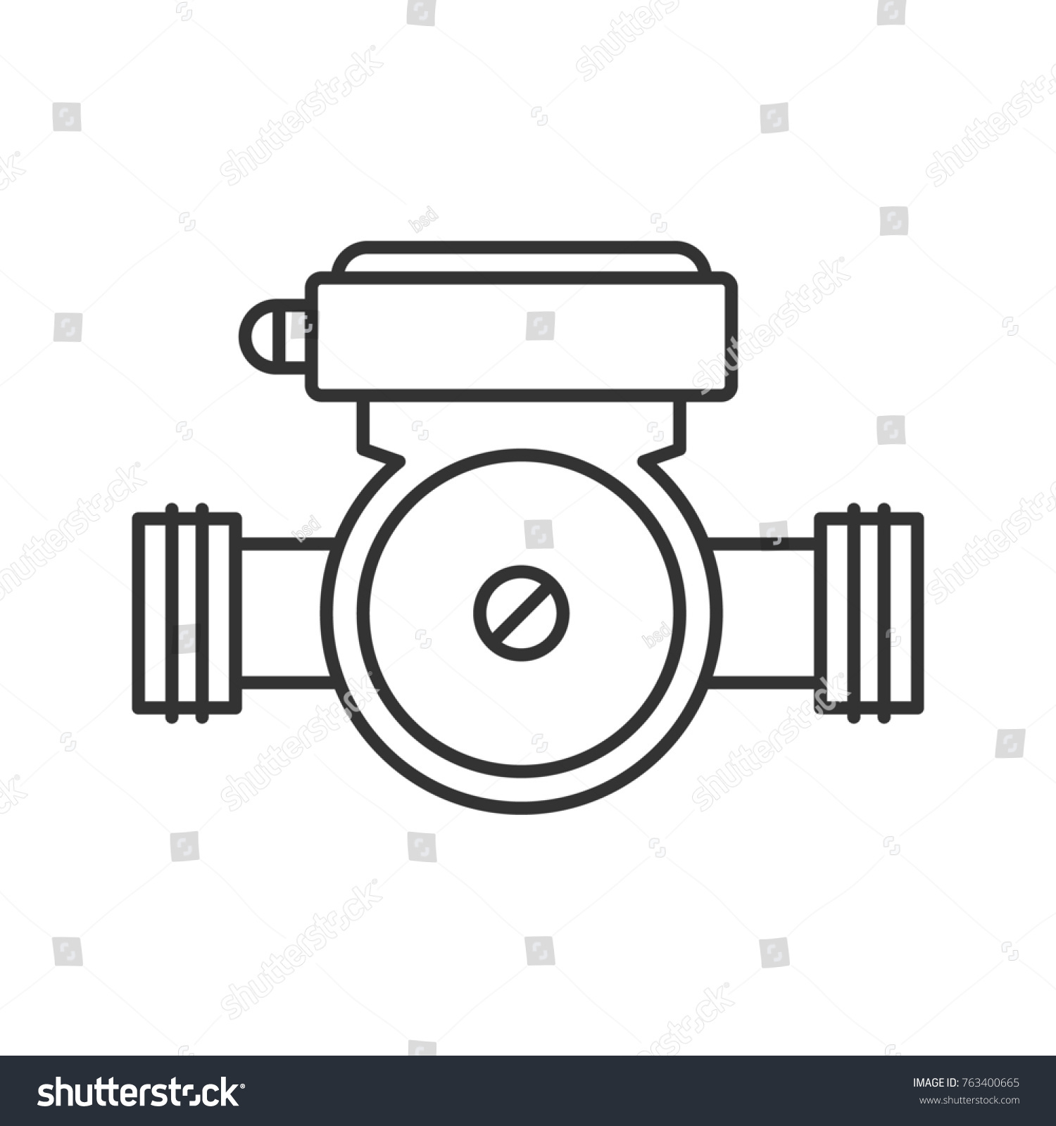 Water Pump Linear Icon Thin Line Stock Illustration 763400665