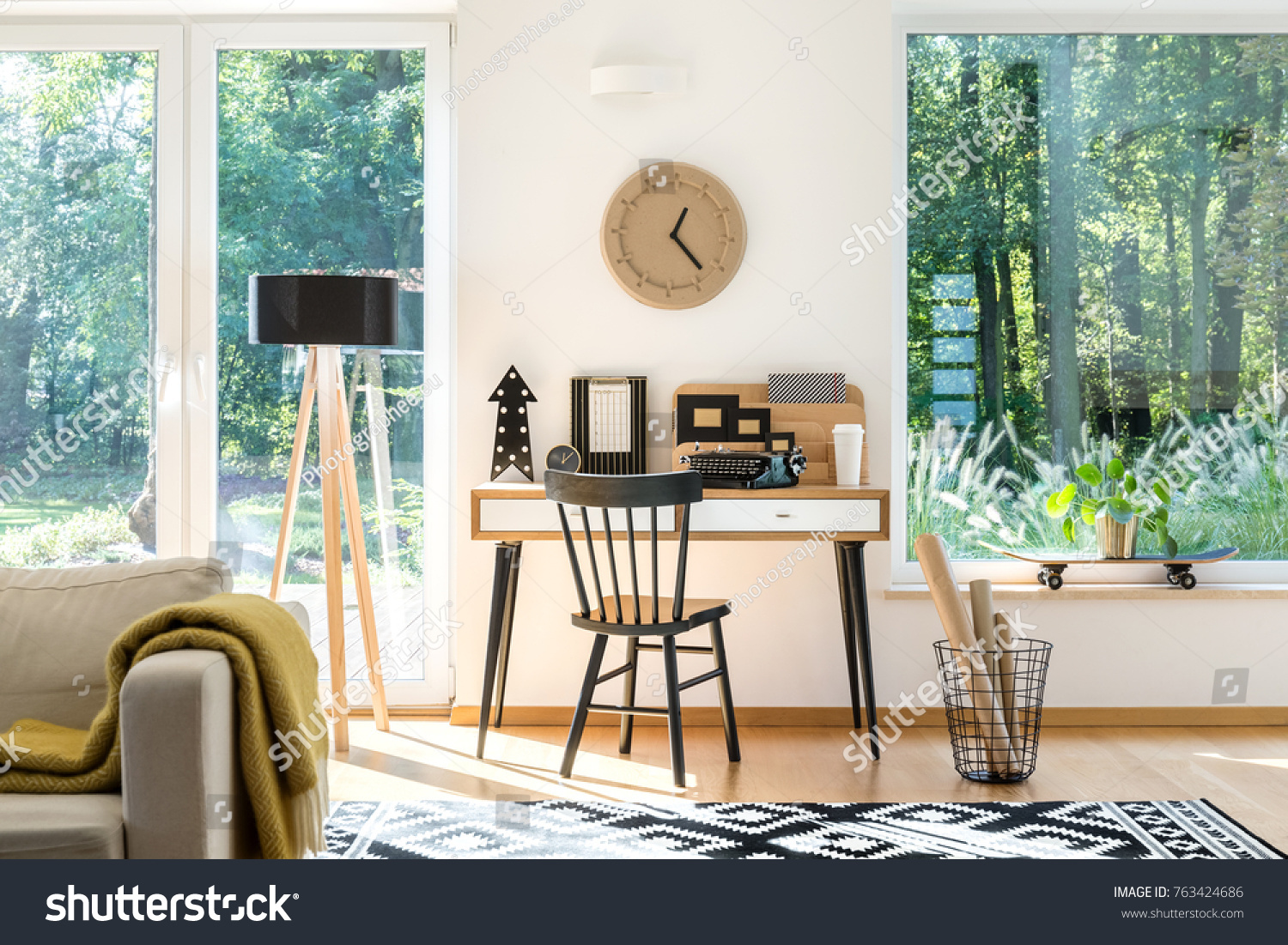 Image of: Wooden Clock Above Black White Desk Stock Photo Edit Now 763424686