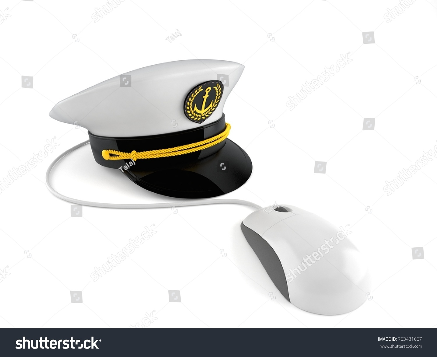 ede9bf645a4 Captain s hat with computer mouse isolated on white background. 3d  illustration