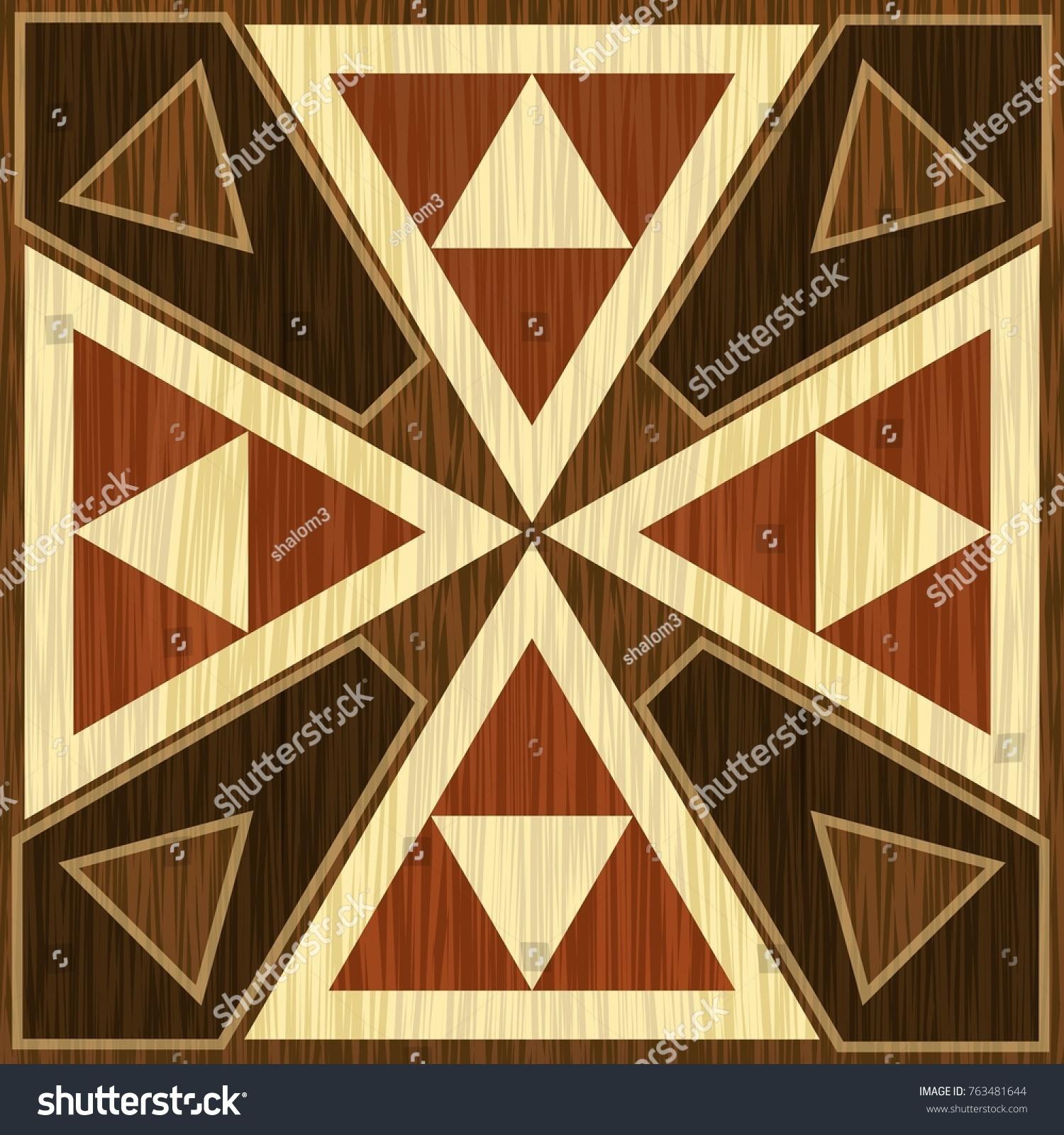 Wooden Inlay Light Dark Triangle Patterns Stock Photo (Photo, Vector ...