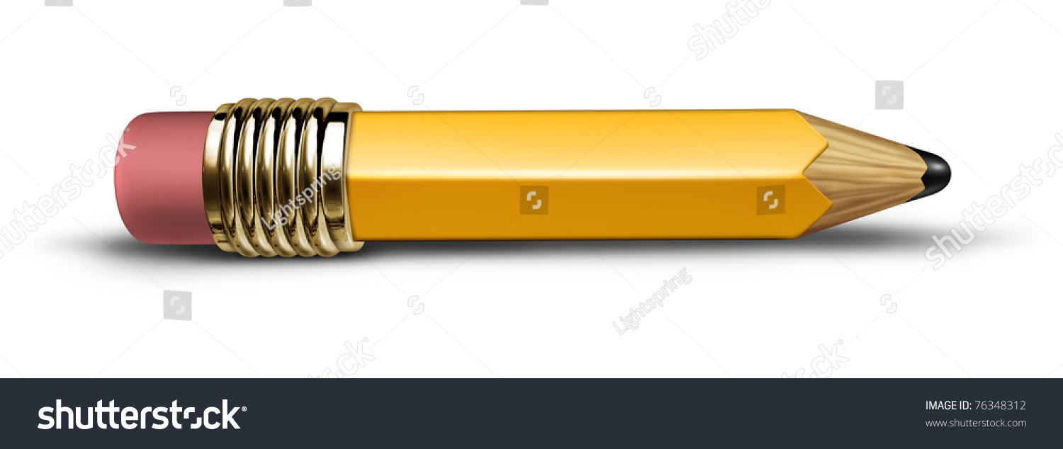 Short Yellow Pencil Isolated Lying Flat On The Floor With A Shadow  Representing The Concept Of