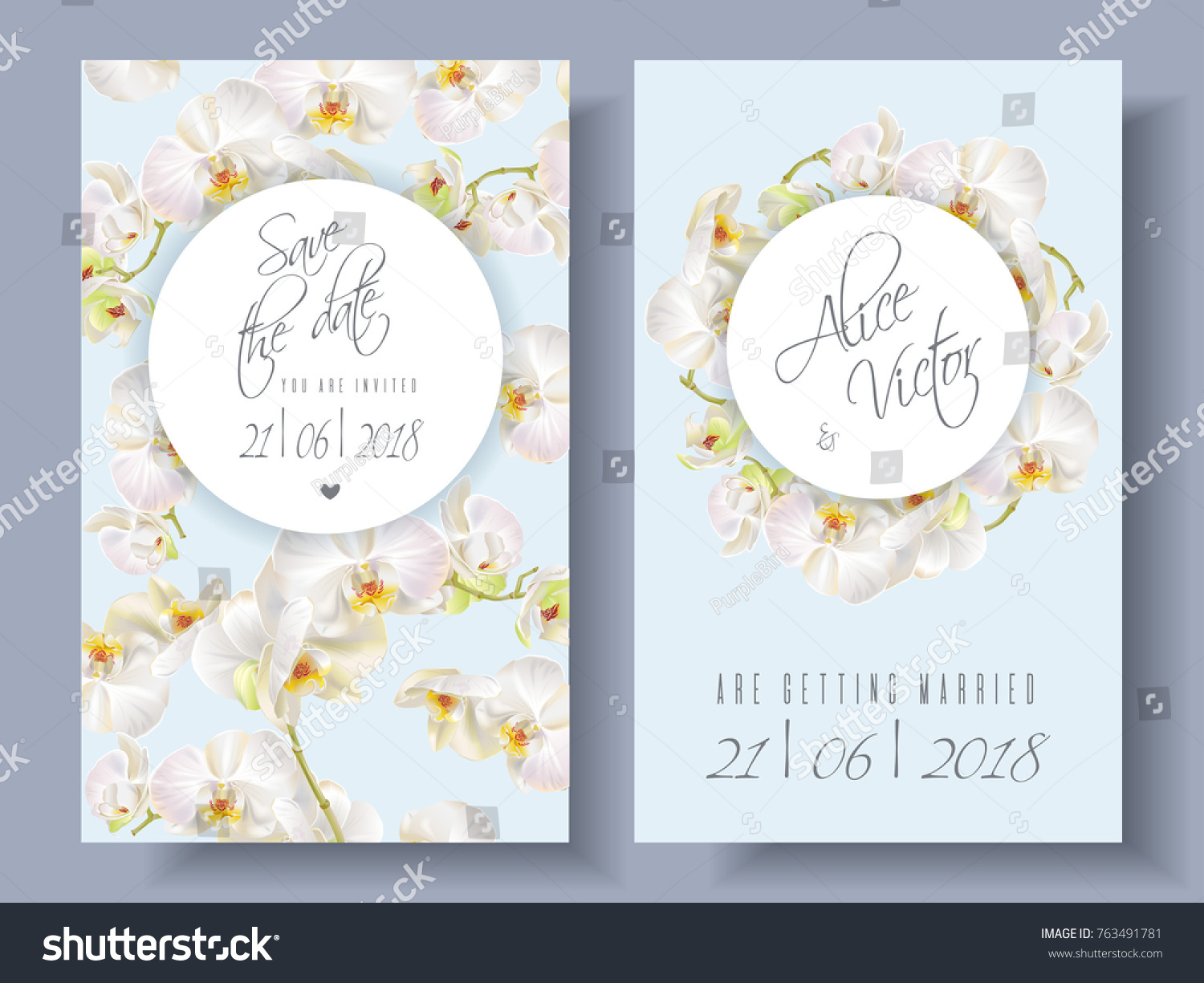 Vector Wedding Invitation Cards White Orchid Stock Photo (Photo ...