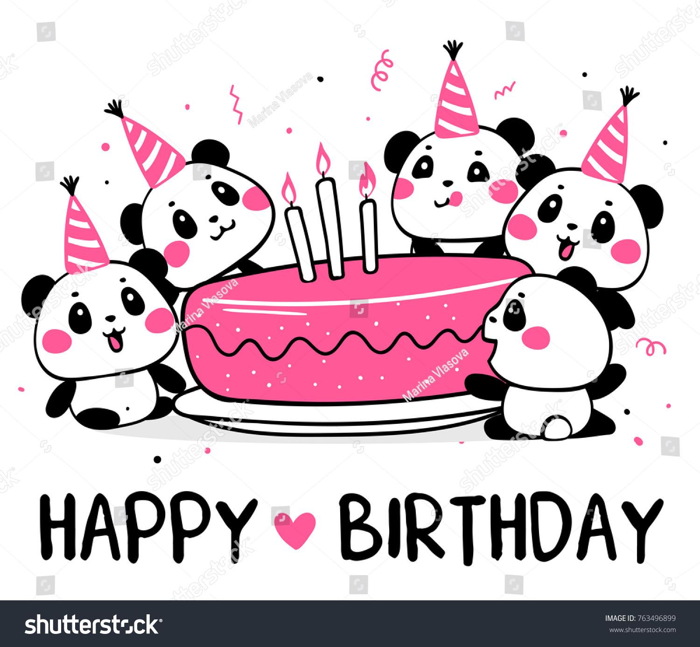Happy Cute Pandas Celebrate Birthday Vector Image Vectorielle De