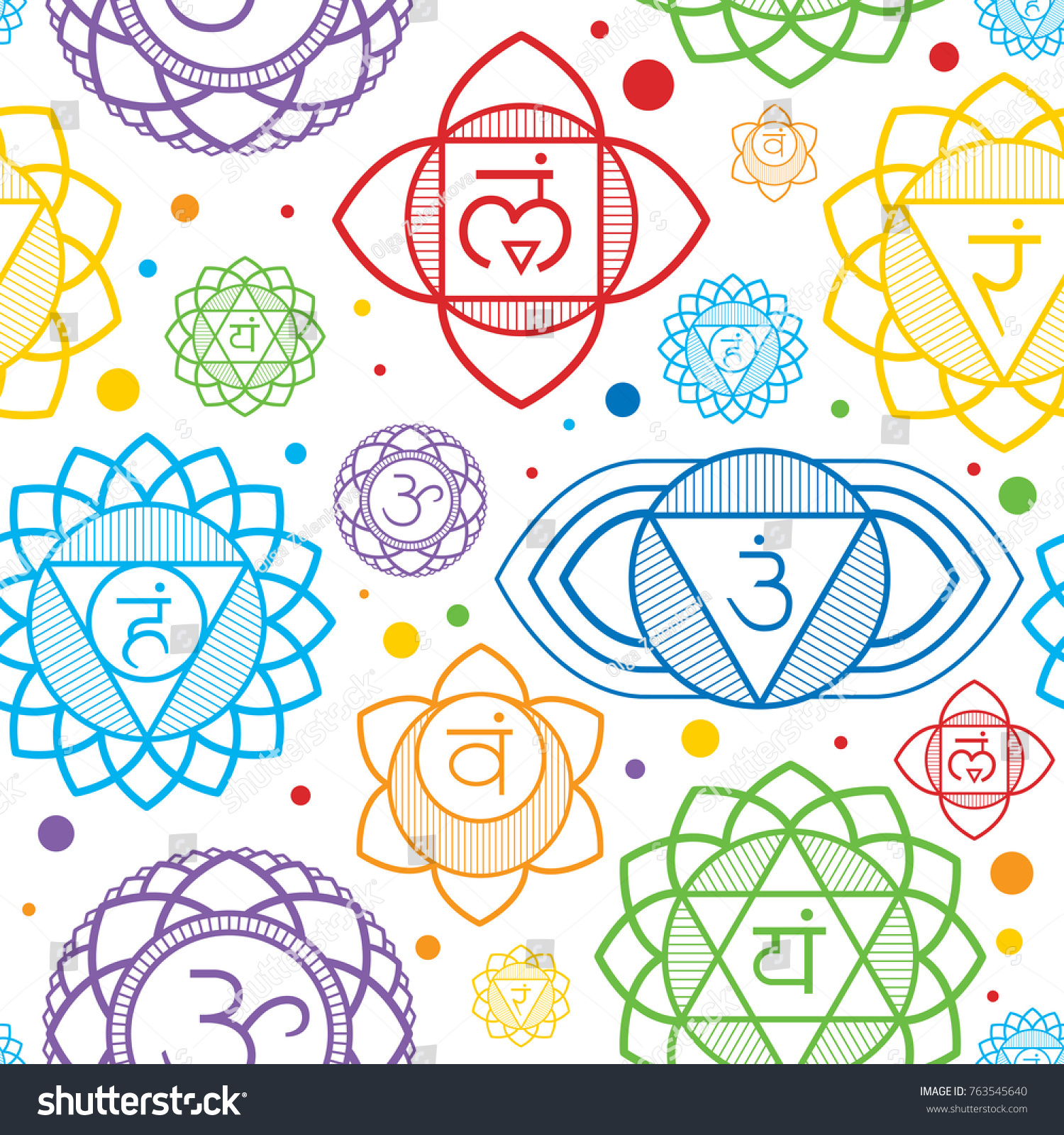 Seamless repeat pattern chakras symbols energy stock vector seamless repeat pattern with chakras symbols of energy centers of human body used in hinduism buycottarizona Gallery