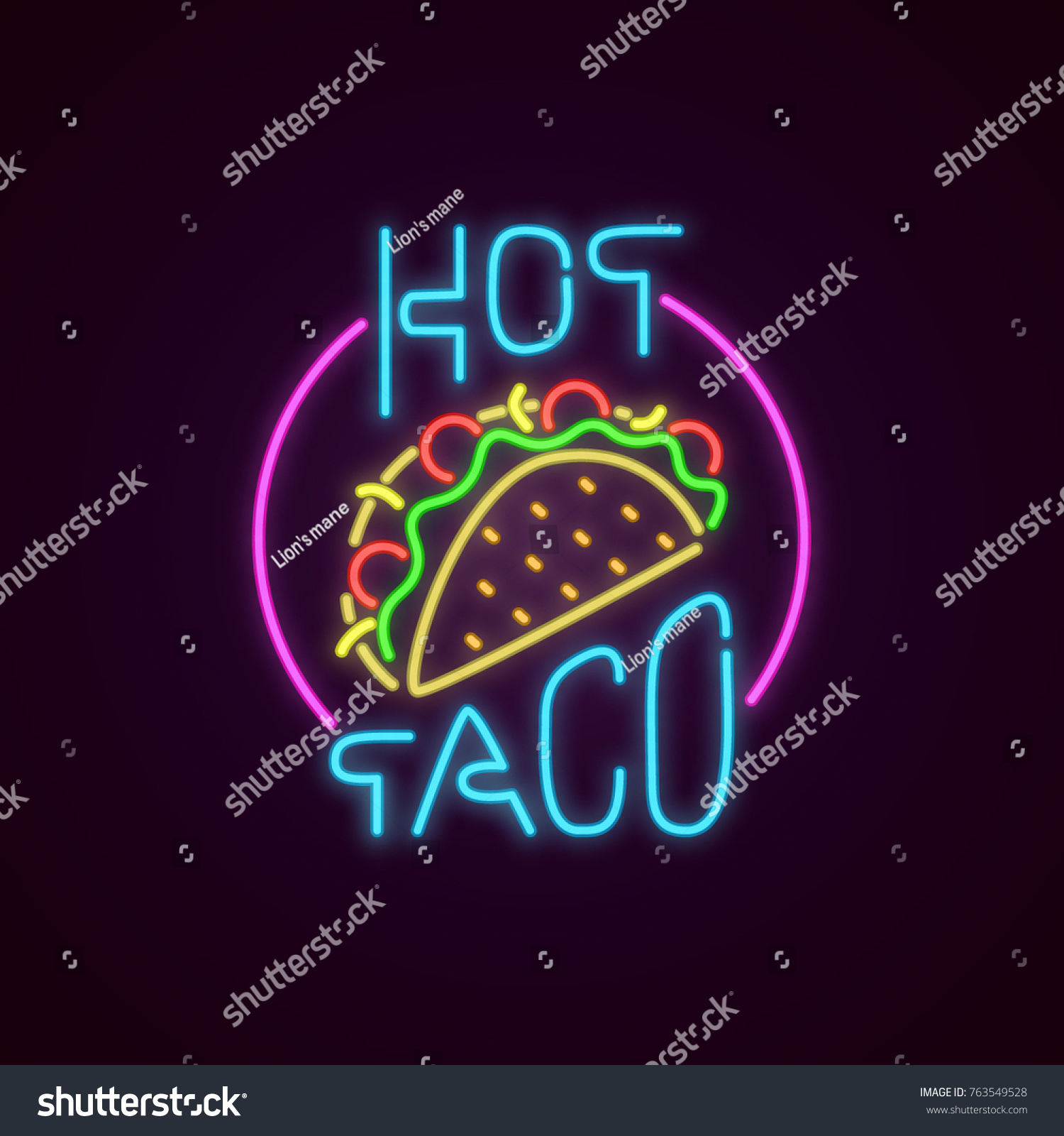Fast Food Neon Sign Vector Hot Stock Vector Royalty Free 763549528