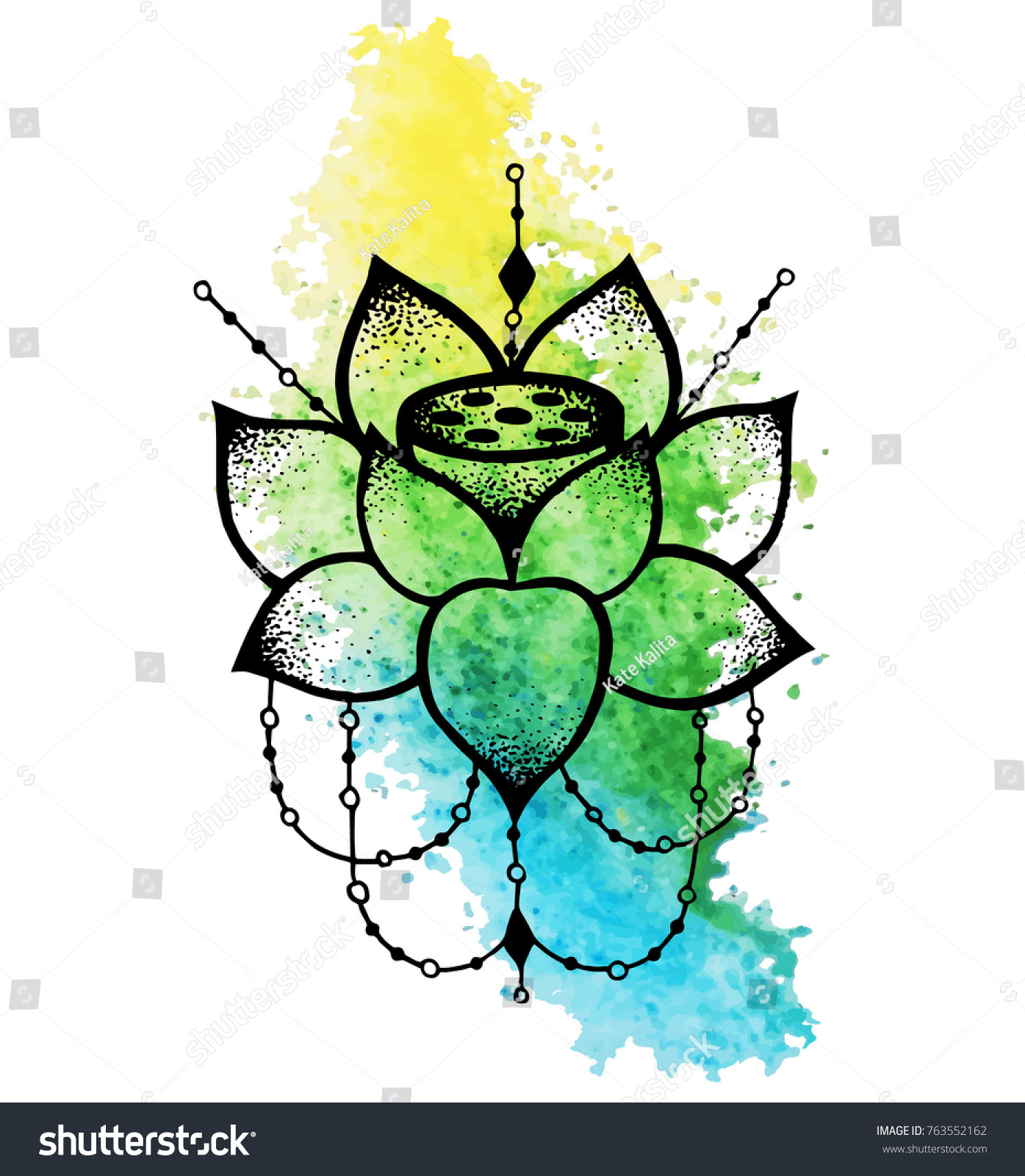Blackwork tattoo flash lotus flower string stock vector royalty blackwork tattoo flash lotus flower with string of beads henna tattoo mystic symbol izmirmasajfo