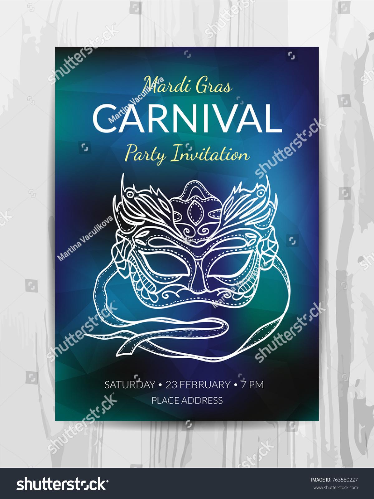 Carnival Party Invitation Card Mardi Gras Stock Vector 763580227 ...