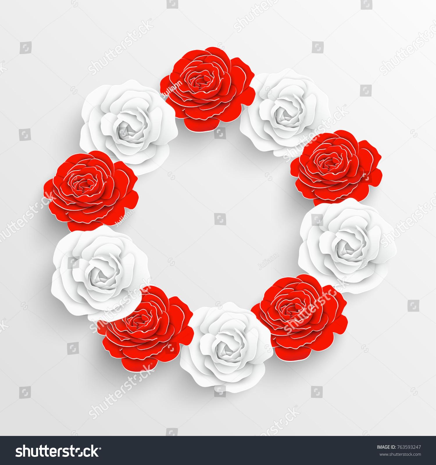 Paper Flower White Red Roses Cut Stock Vector 763593247 - Shutterstock