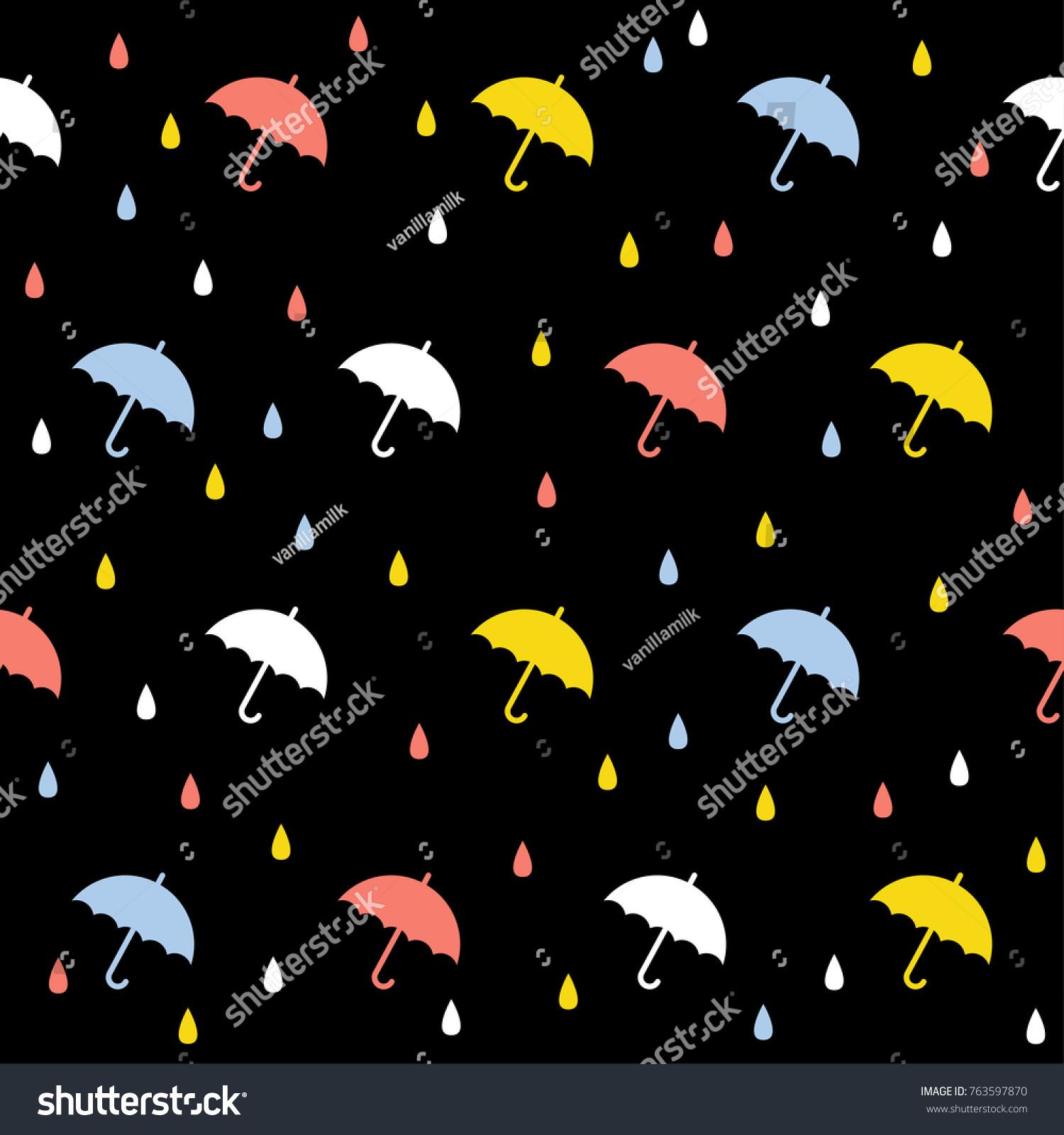 Abstract Handmade Umbrella Drop Seamless Pattern 763597870
