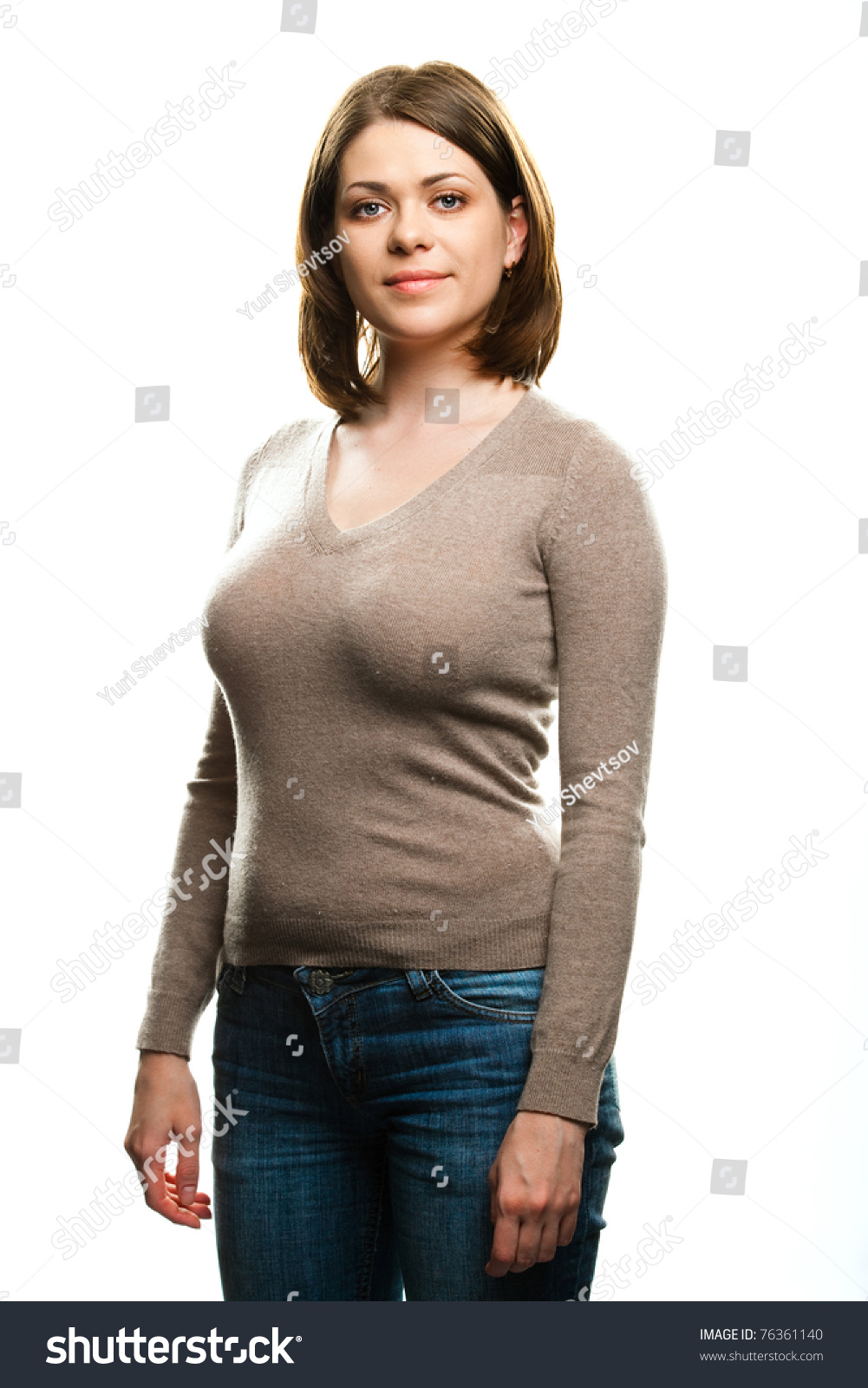 Portrait Young Happy Woman Casual Dressed Stock Photo 76361140 Shutterstock