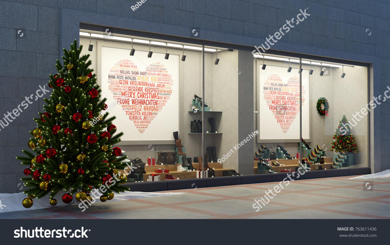 Royalty Free Stock Illustration of Christmas Shop Window Showcase ...