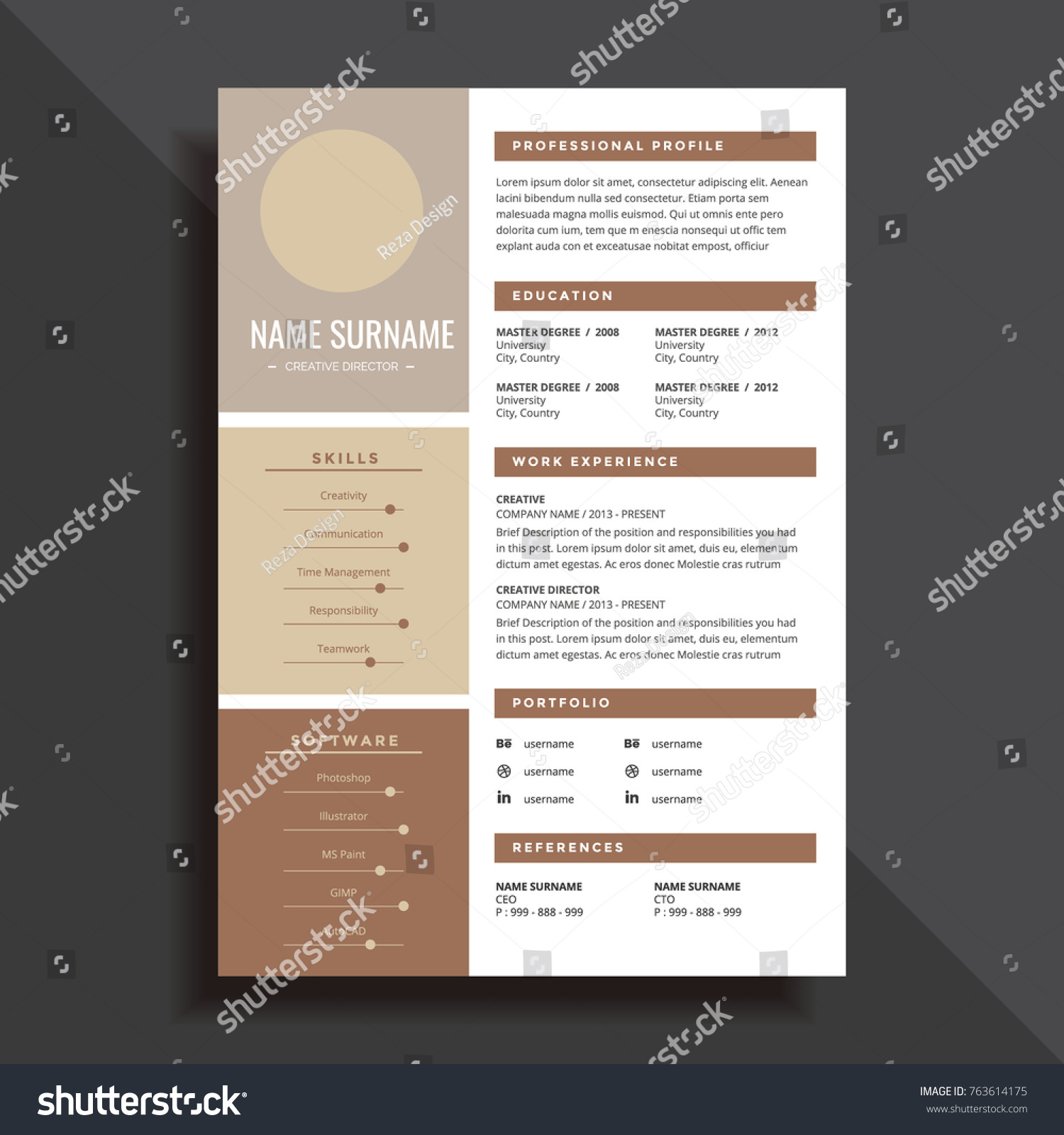 professional simple resume cv template design のベクター画像素材