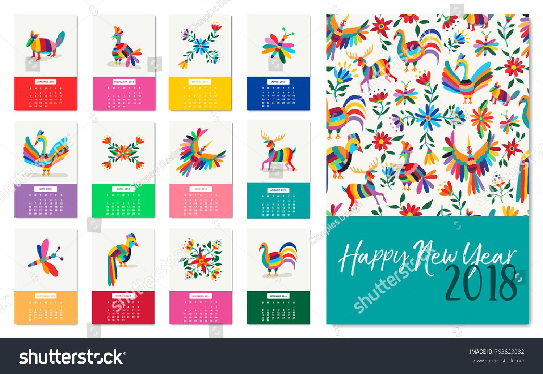 Happy New Year 2018 Calendar Template Stock Vector (2018