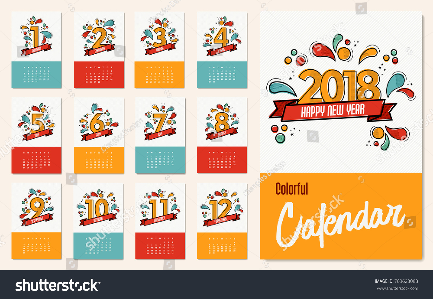 New Year 2018 Calendar Template Monthly Stock Vector Royalty Free