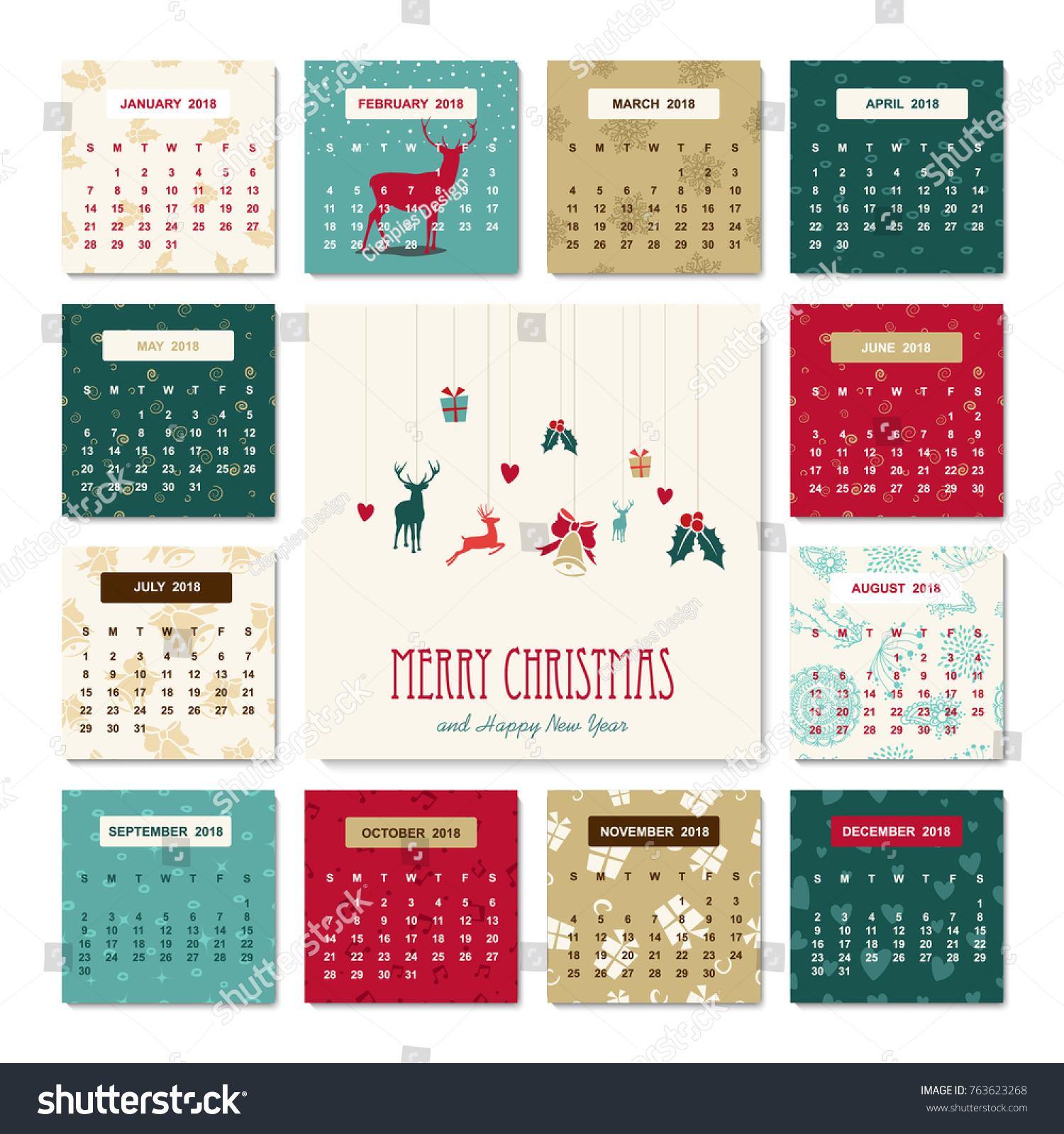 Happy New Year 2018 Holiday Calendar Stock Vector Royalty Free
