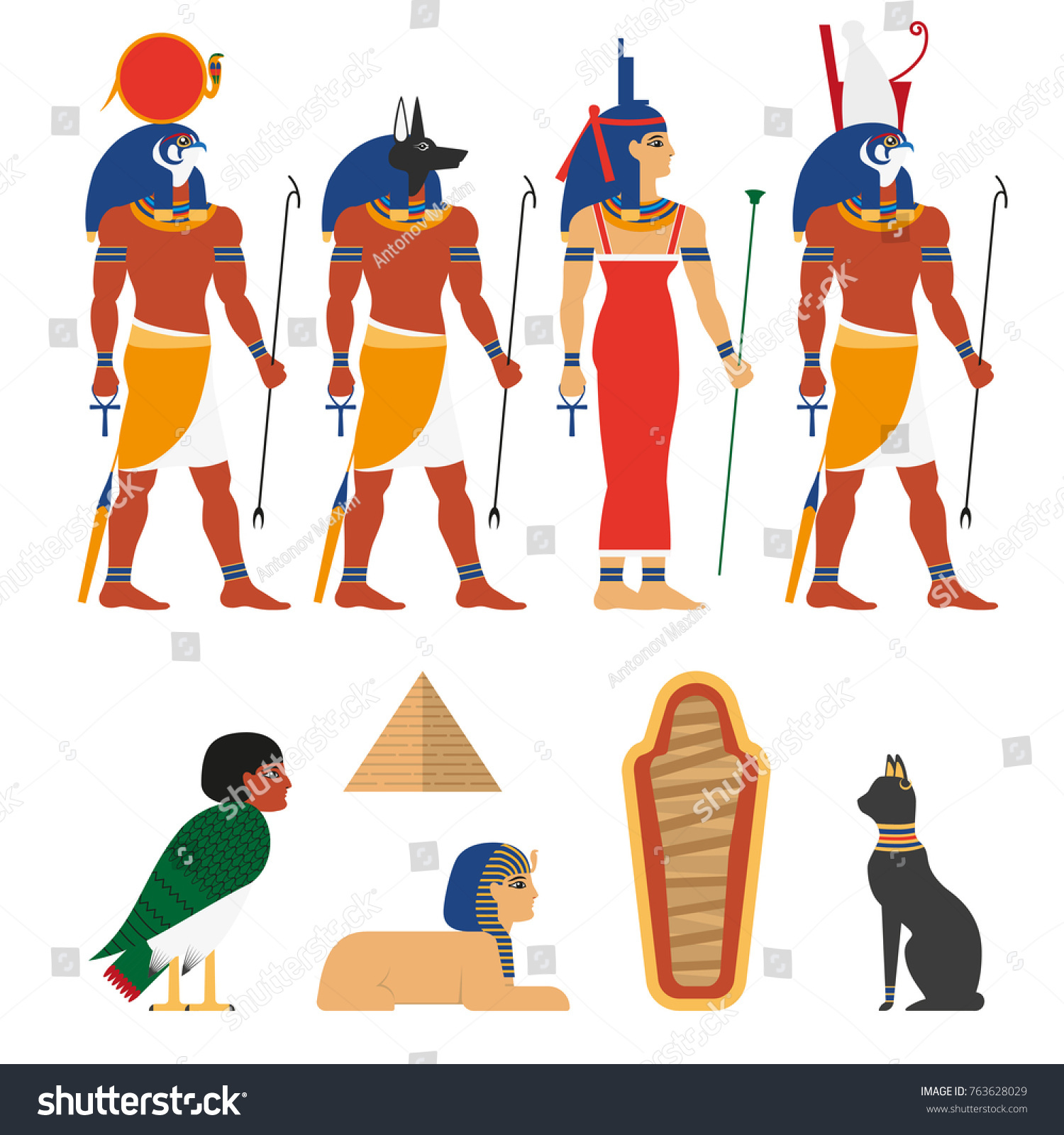 Set Ancient Egypt Gods Symbols Characters Stock Vector Royalty Free