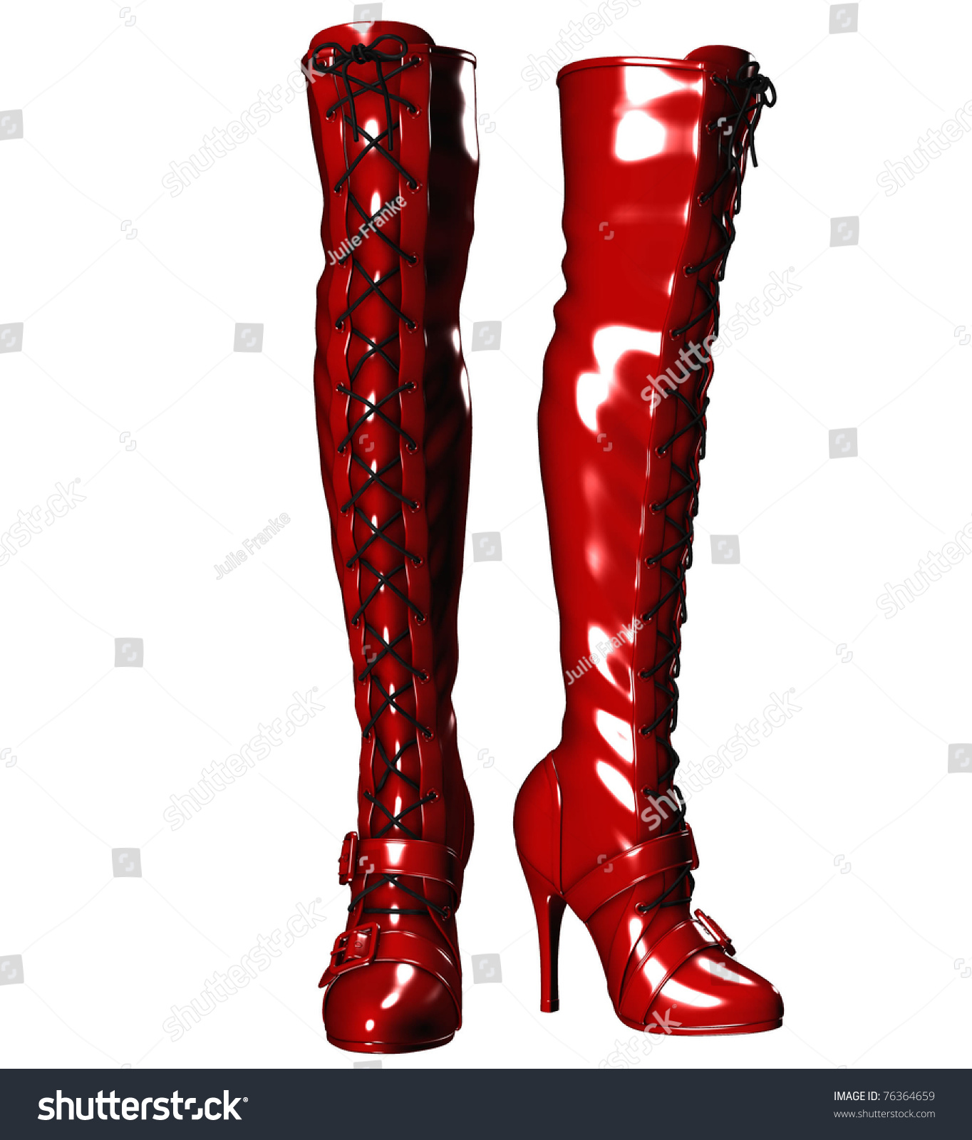 Kinky Sexy Thighhigh Buckle Laceup Red Stock Illustration 76364659 ...