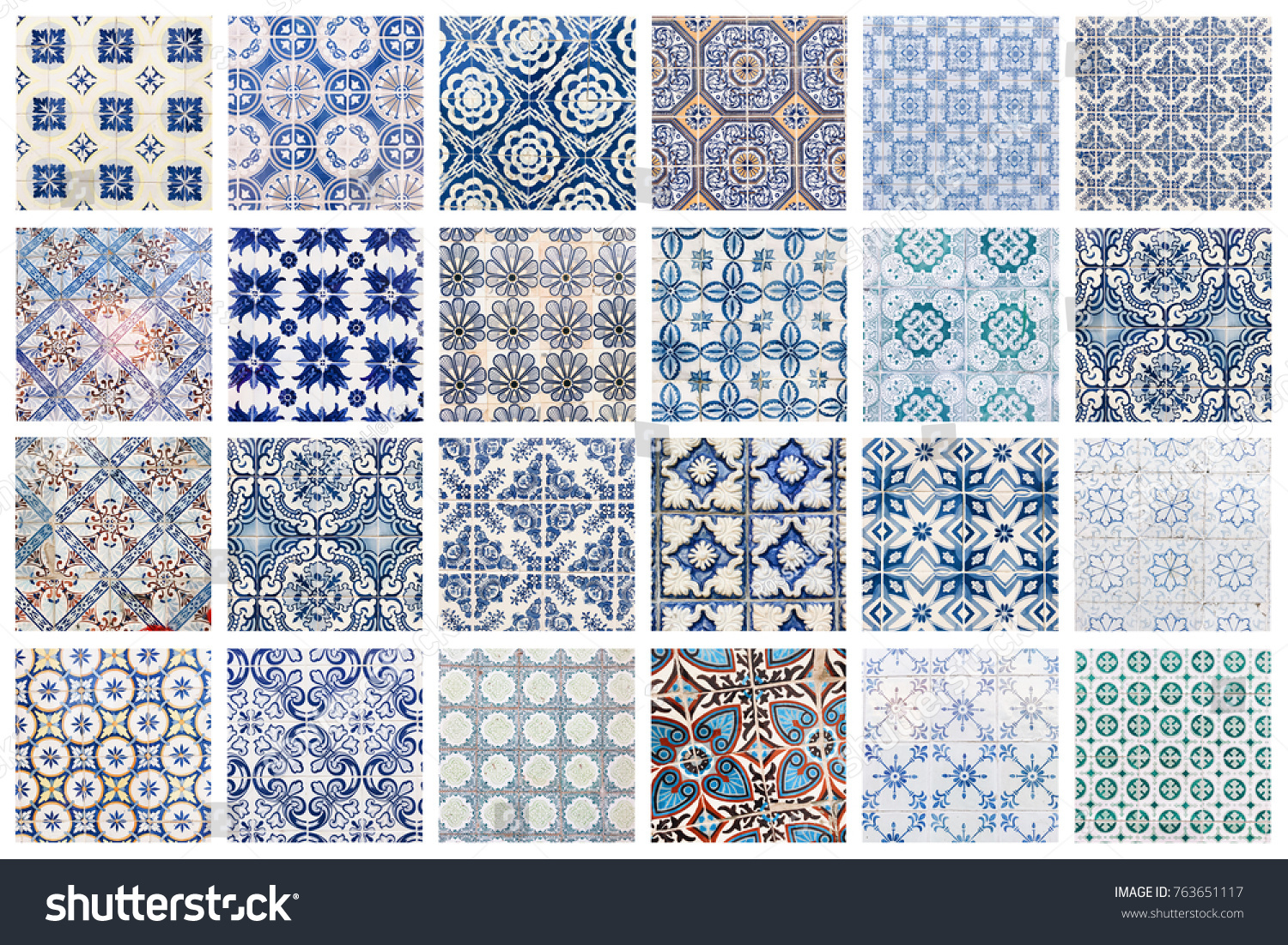 Beautiful Collage Different Traditional Portuguese Tiles Stock Photo ...
