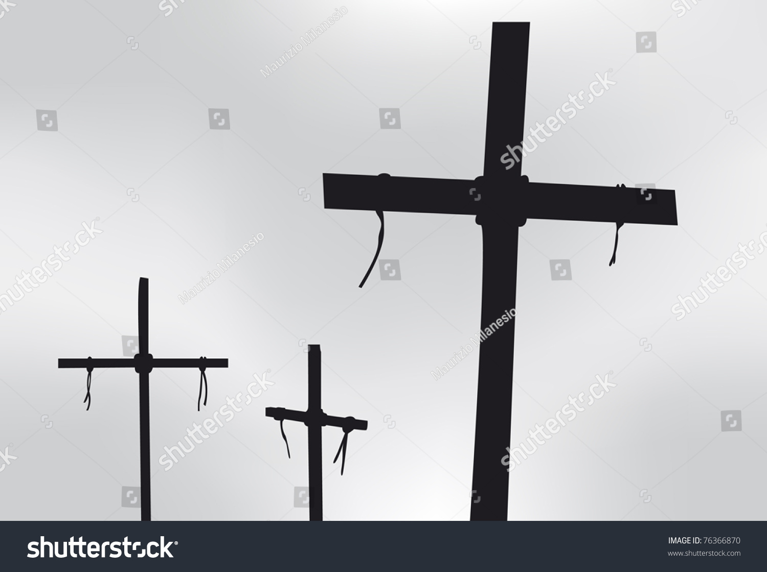 Three Crosses In Silhouette In Front Of A Gray Sky Stock ...