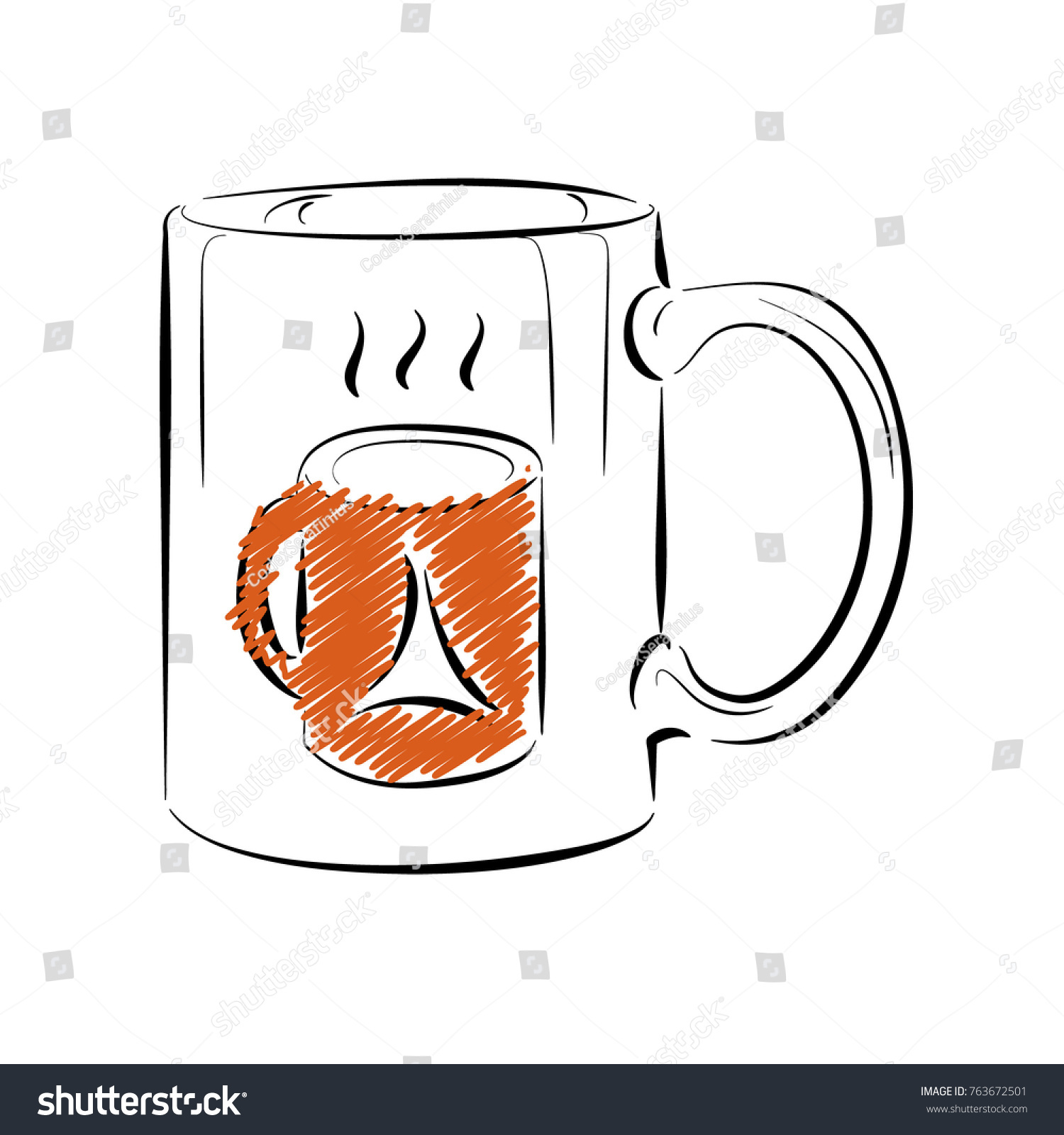 coffee mug template outline style drawing stock vector royalty free