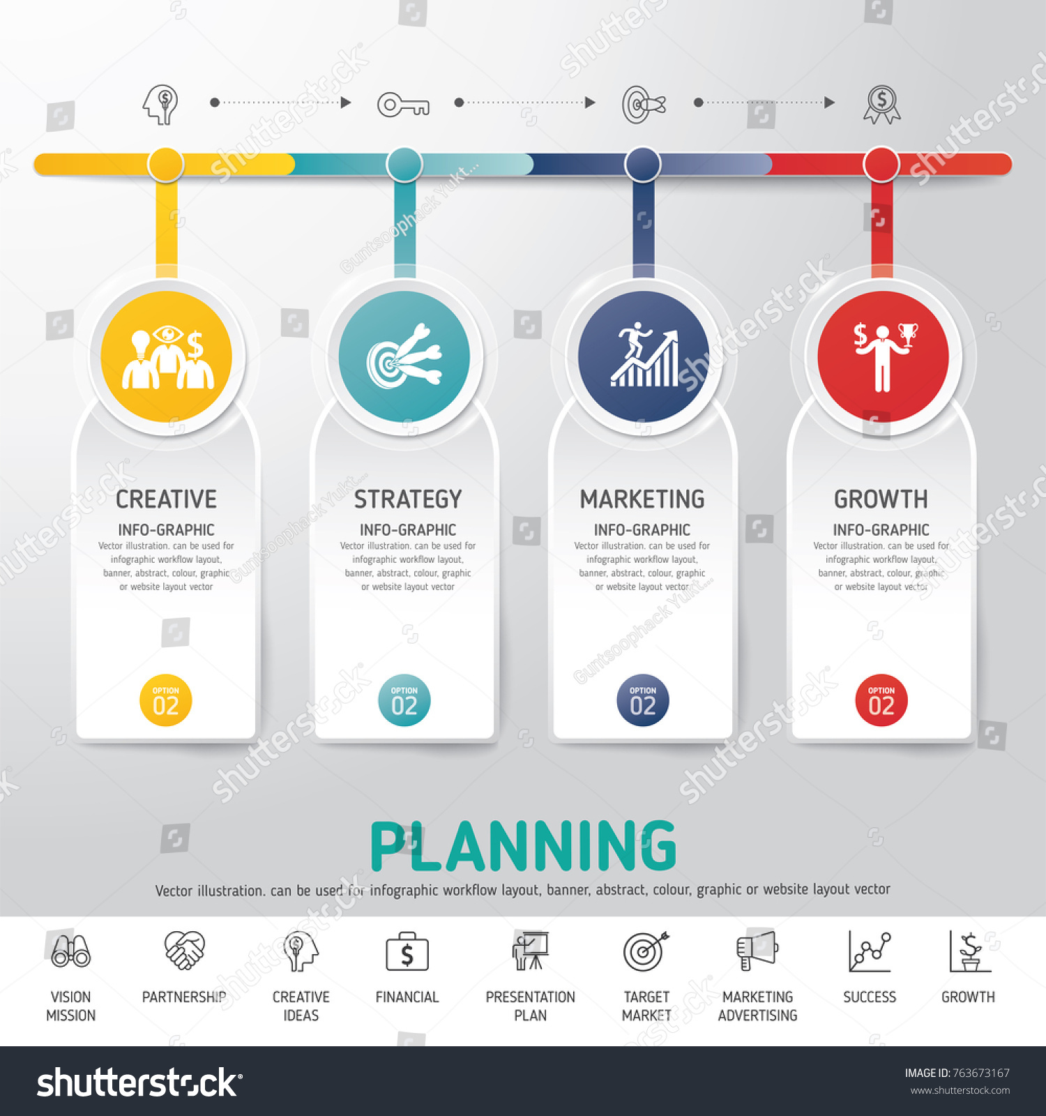 Timeline Infographics Template Modern Info Graphic Stock Vector - Marketing layout templates