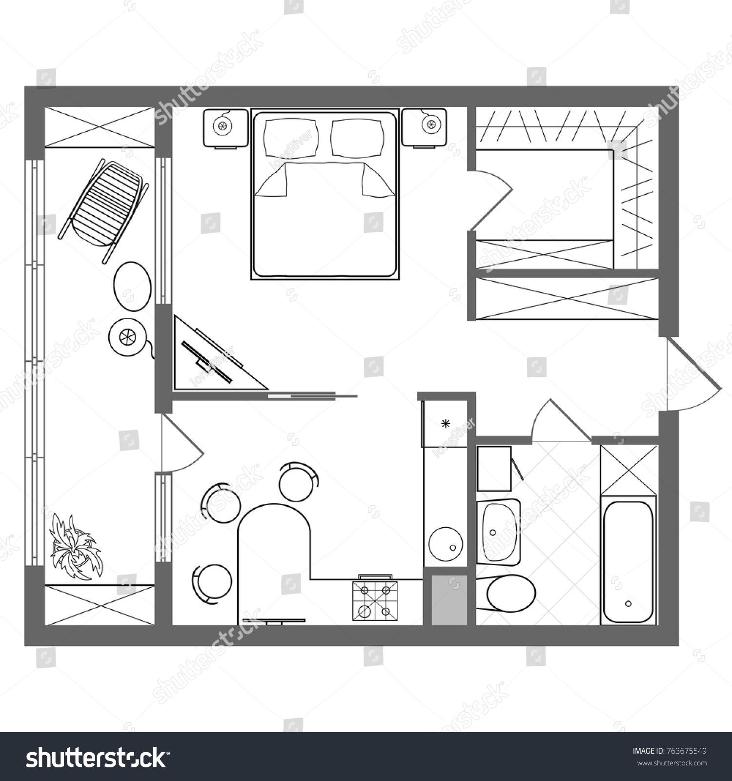 Illustration Foor Plan Studio Oneroom Apartment Stock Illustration ...