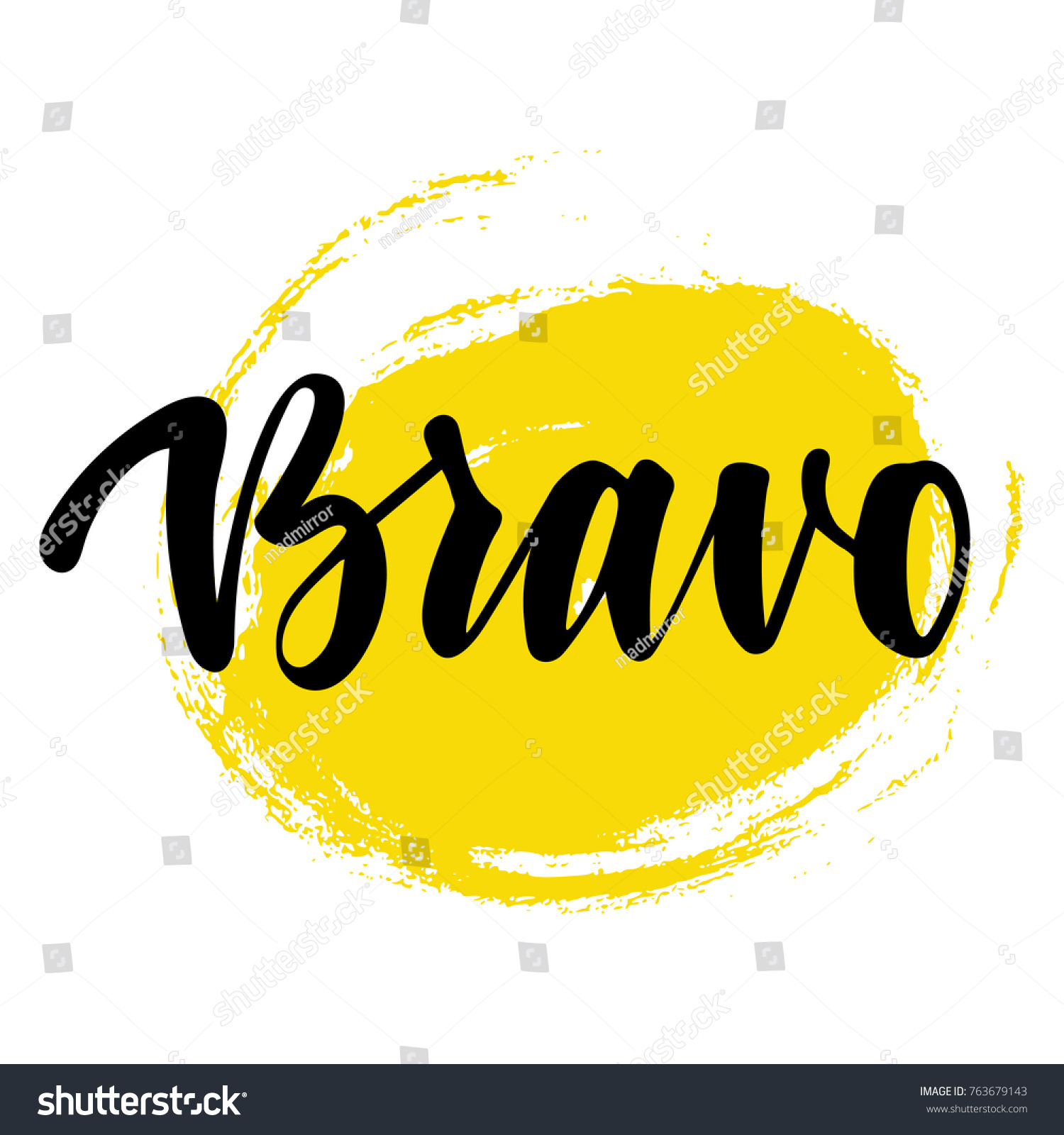 Bravo Greeting Congratulation Card Phrase Successful Stock Vector