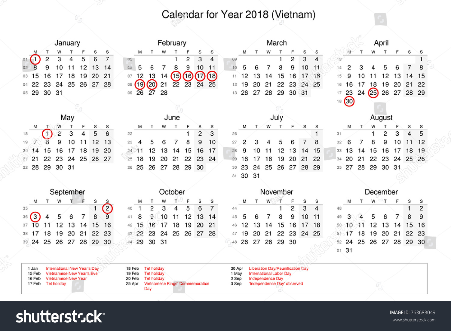 calendar of year 2018 with public holidays and bank holidays for vietnam