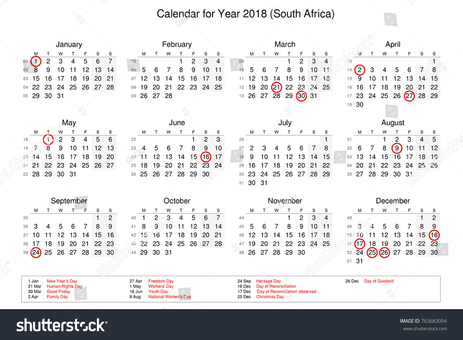 calendar of year 2018 with public holidays and bank holidays for south africa