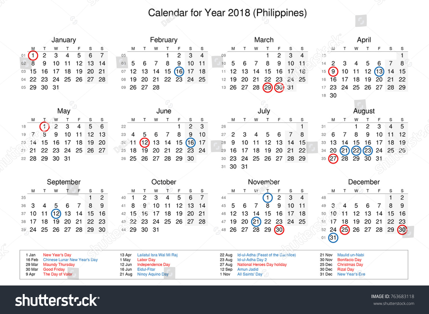 calendar of year 2018 with public holidays and bank holidays for philippines