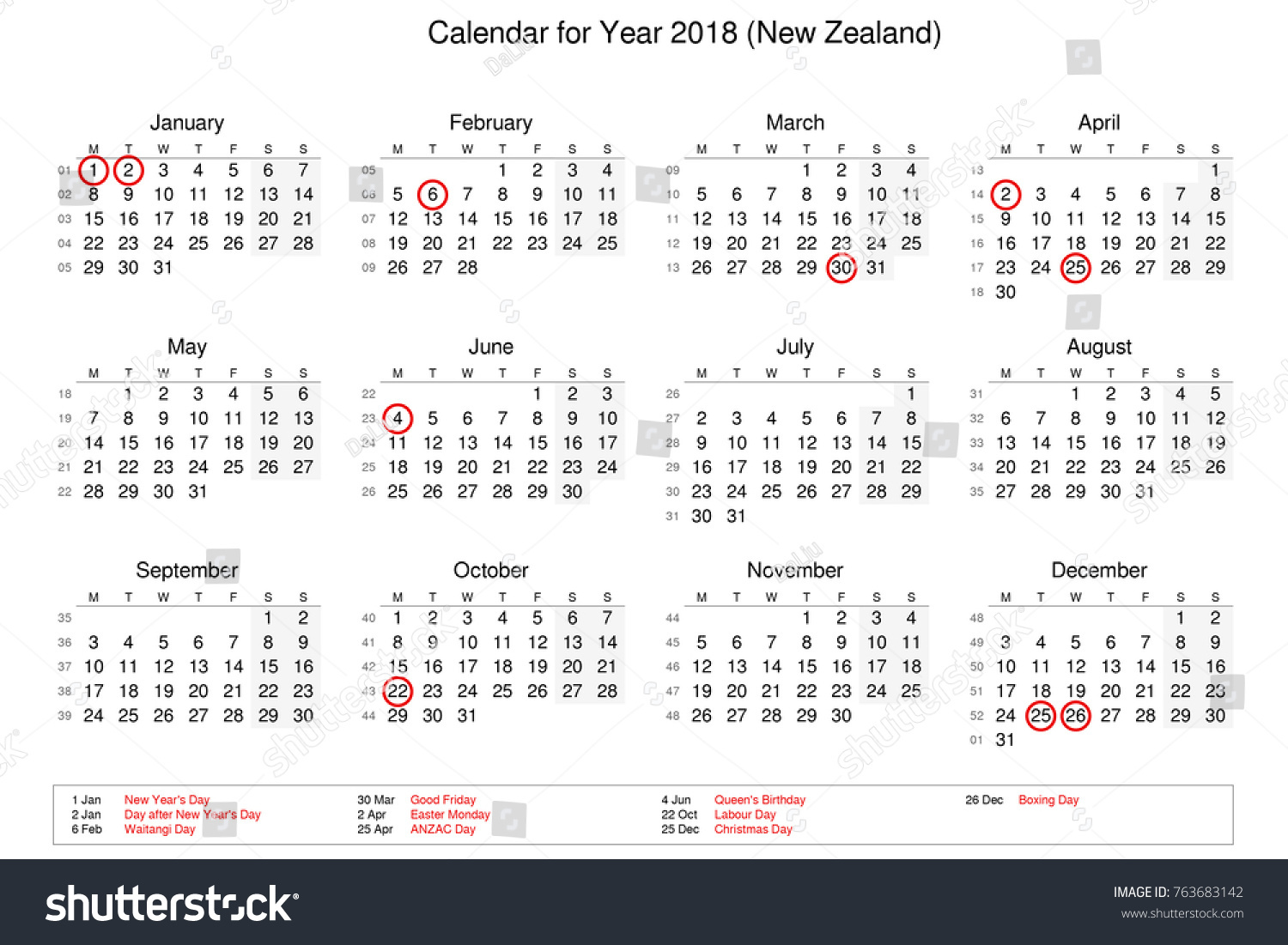 calendar of year 2018 with public holidays and bank holidays for new zealand