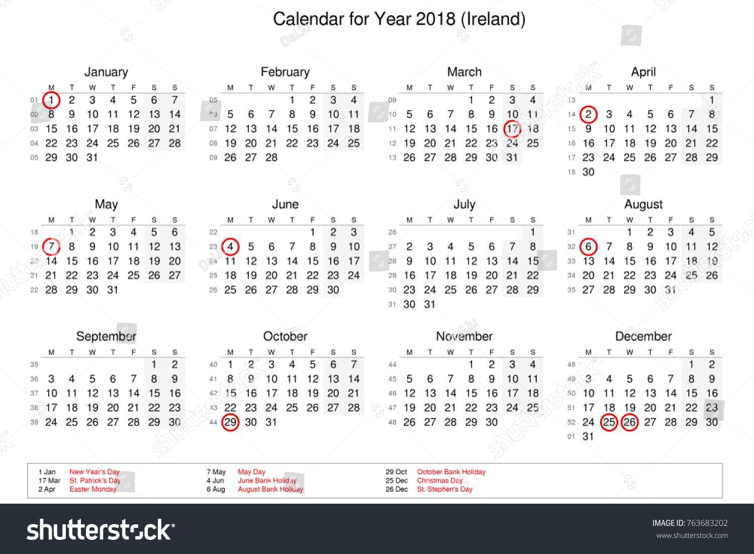 calendar of year 2018 with public holidays and bank holidays for ireland