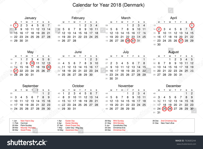Calendar Year 2018 Public Holidays Bank Stock Illustration 763683244 ...
