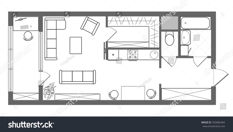 Floor Plan Long One Bedroom Studio Stock Illustration 763685404