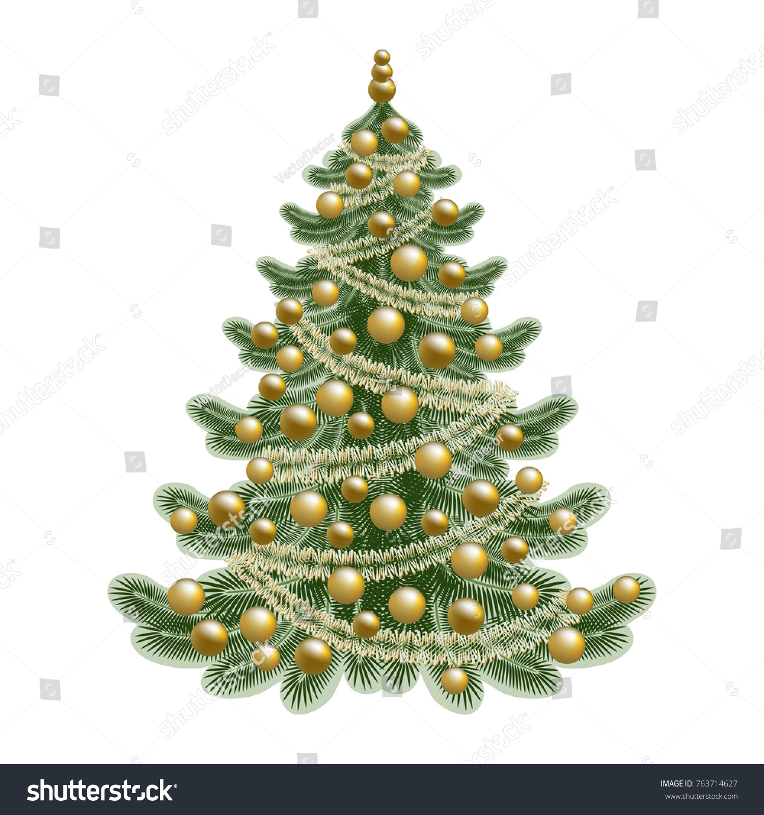 Traditional Decorated Christmas Tree Gold Color Stock Vector ...
