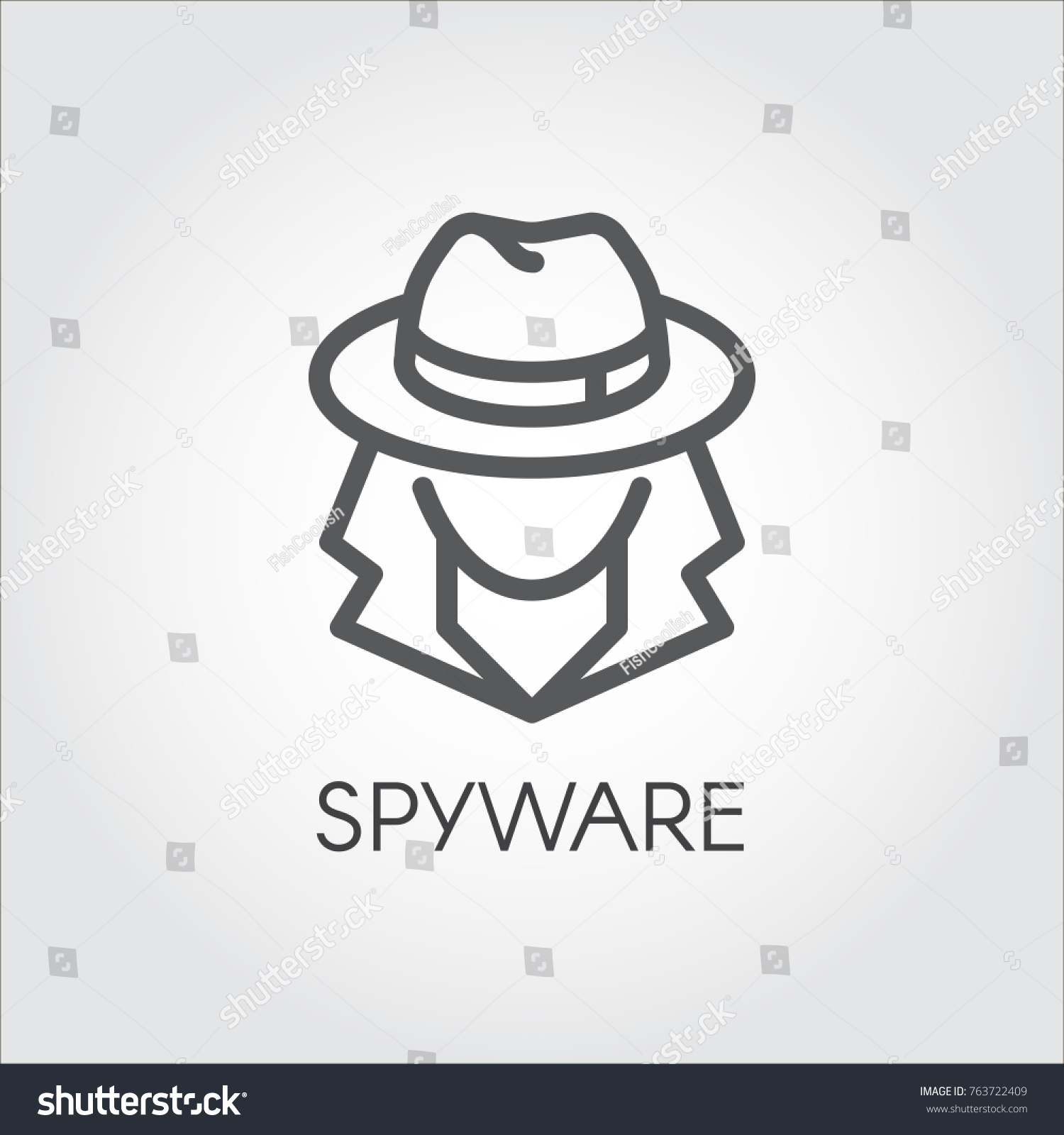 Spy Stock Quote Spyware Icon Outline Design Abstract Figure Stock Vector 763722409