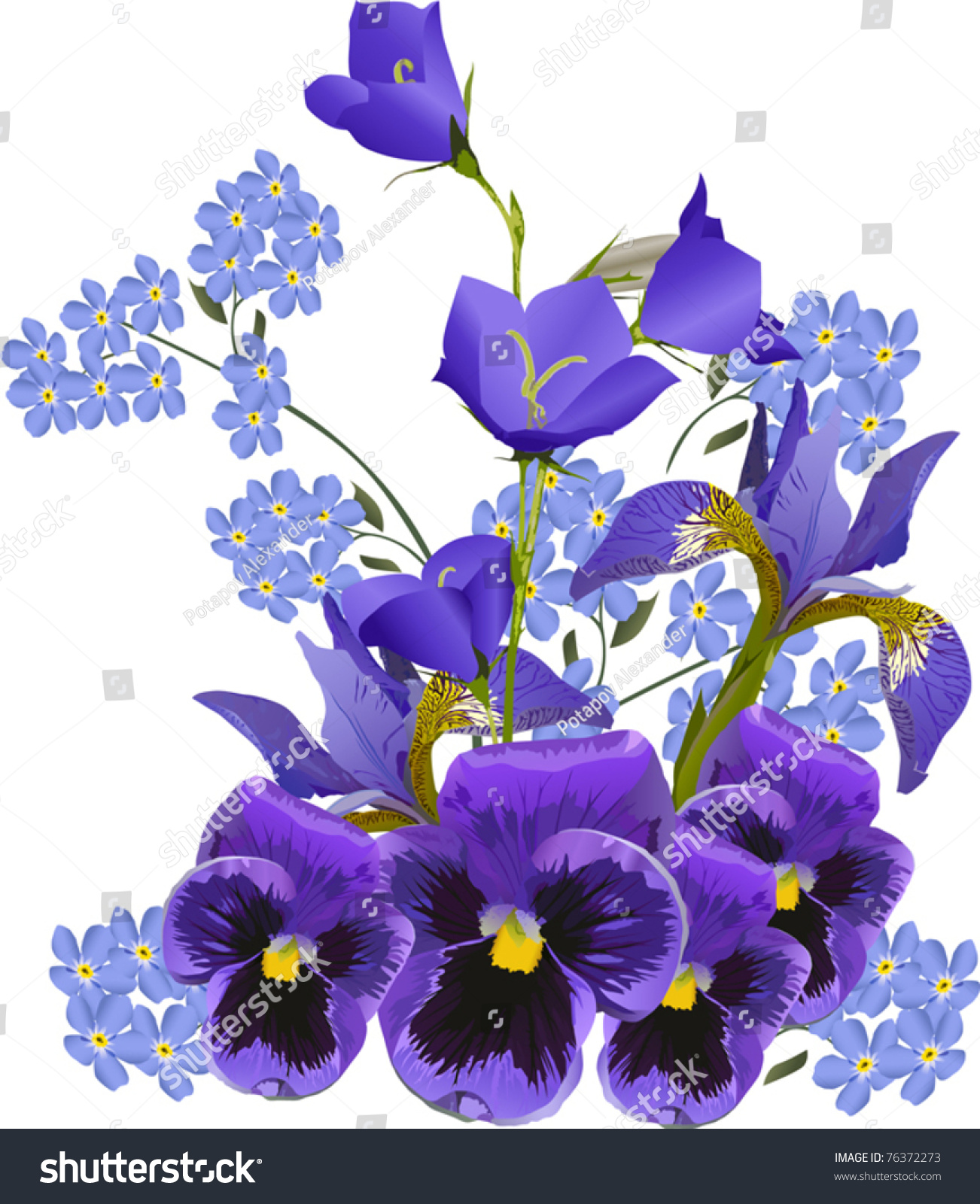 Illustration Blue Flower Bouquet On White Stock Vector Royalty Free