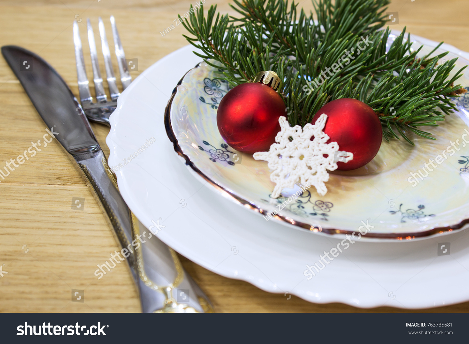 Festive Table Christmas Decorations Plates Festive Stock Photo Edit Now 763735681
