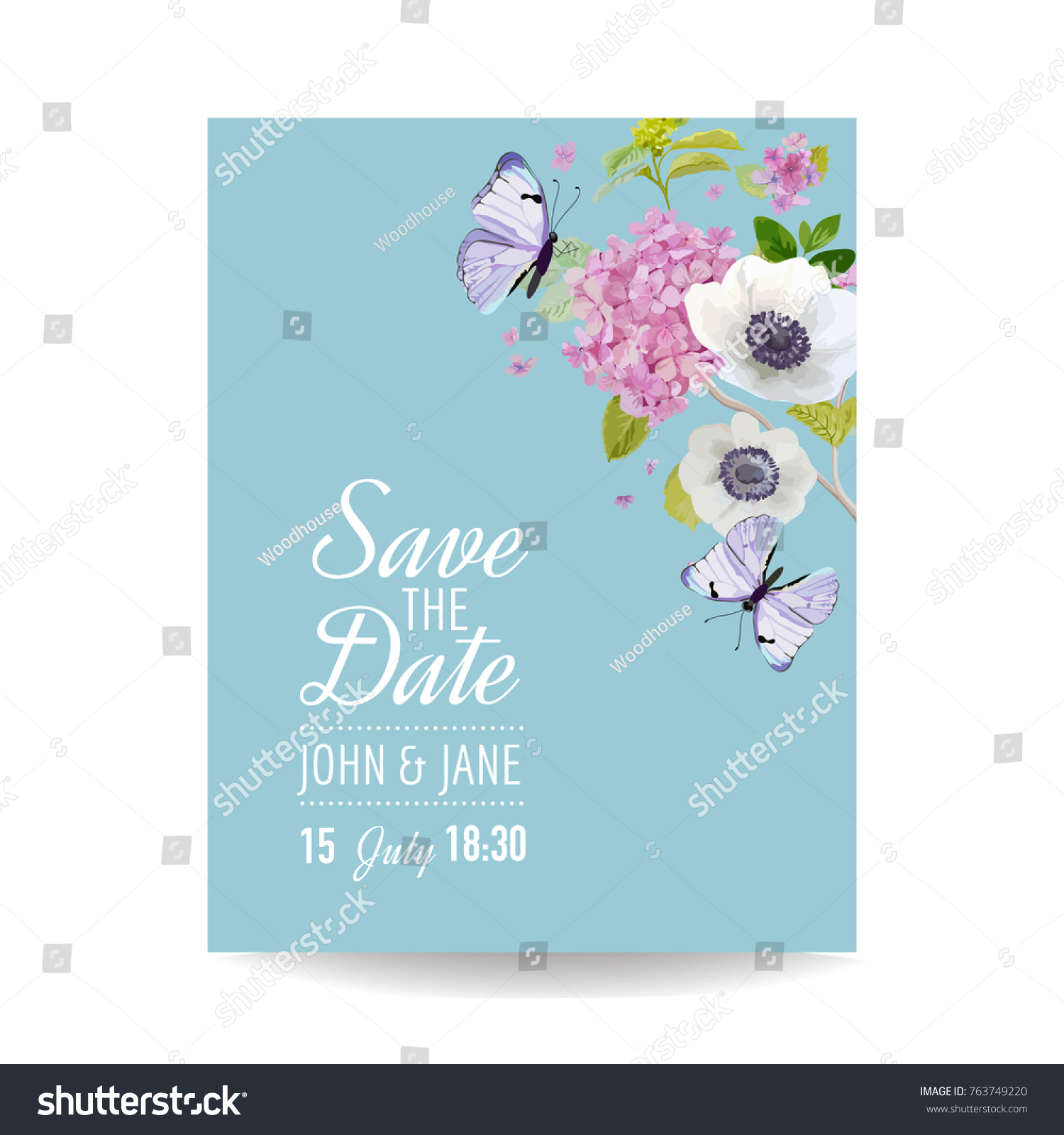 Save Date Card Wedding Invitation Template Stock Vector 763749220 ...