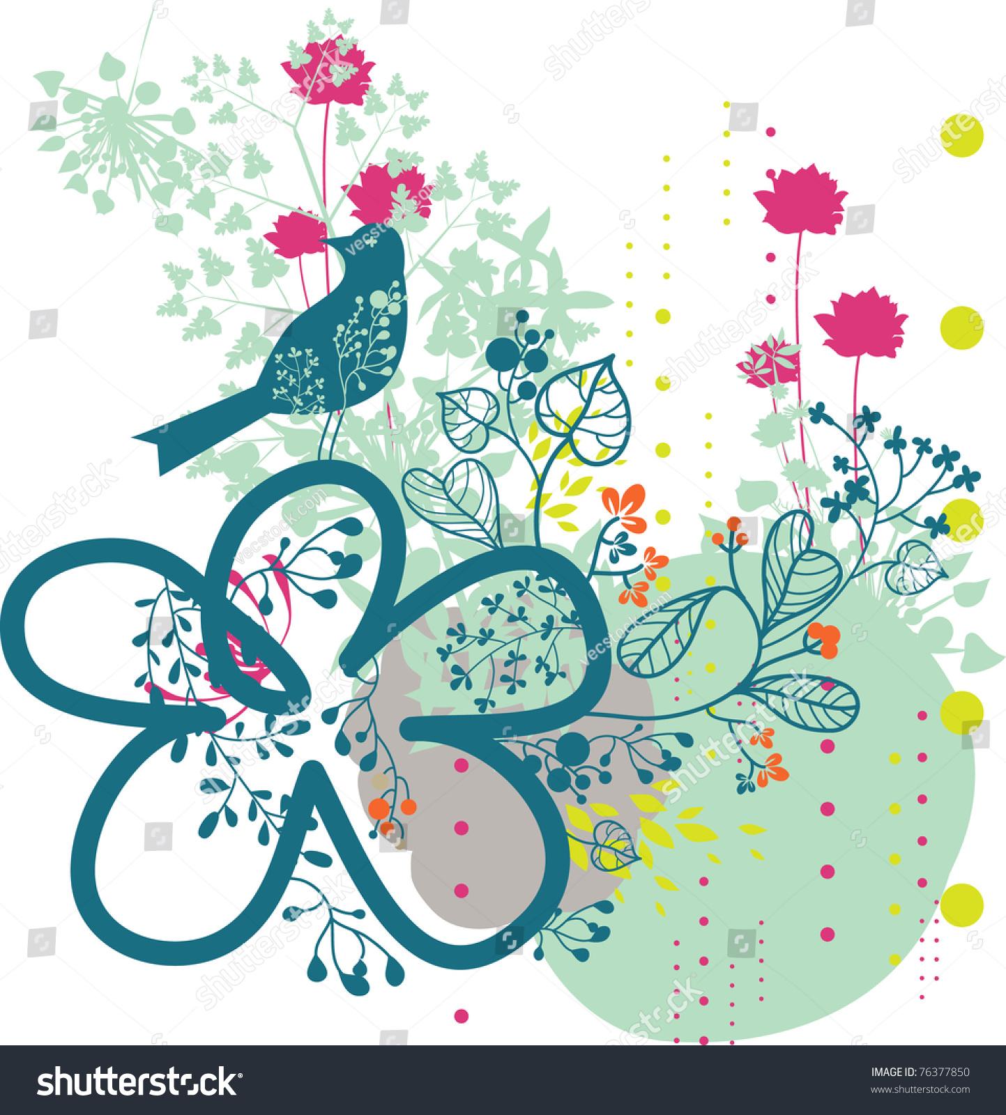 garden paradise bird background design stock vector