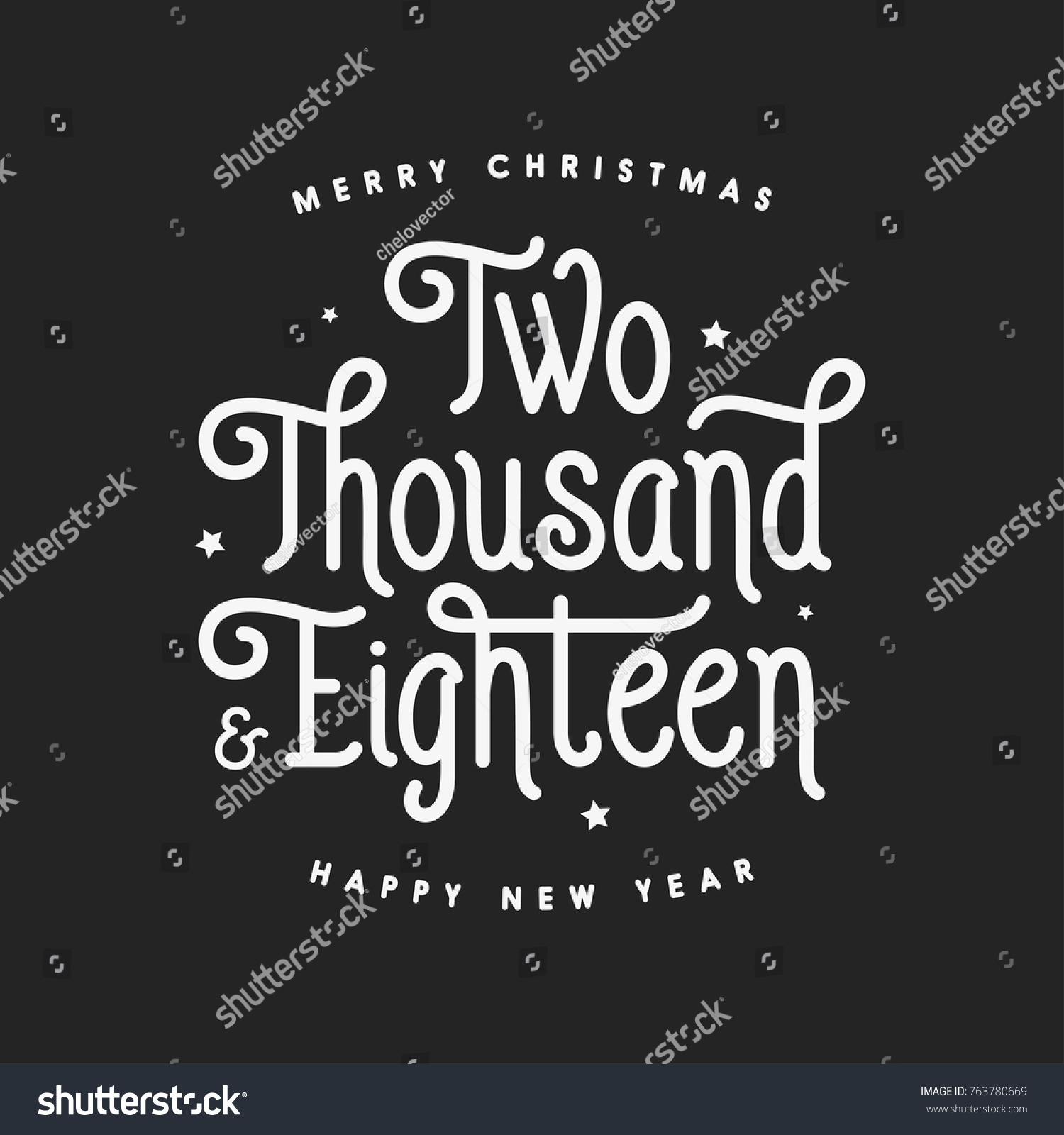 Merry Christmas Happy New Year Lettering Stock Vector 763780669 ...