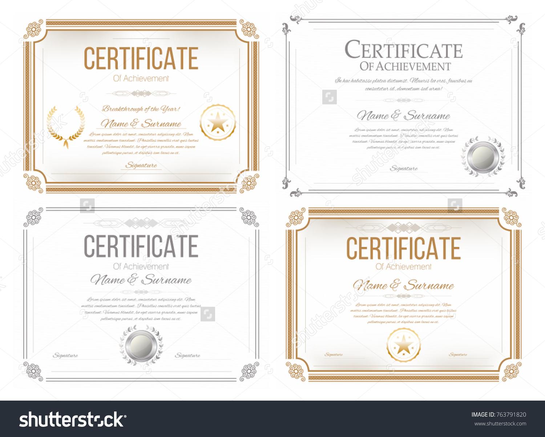 Set certificates appreciation award certificate diploma stock set certificates appreciation award certificate diploma stock vector 763791820 shutterstock xflitez Image collections
