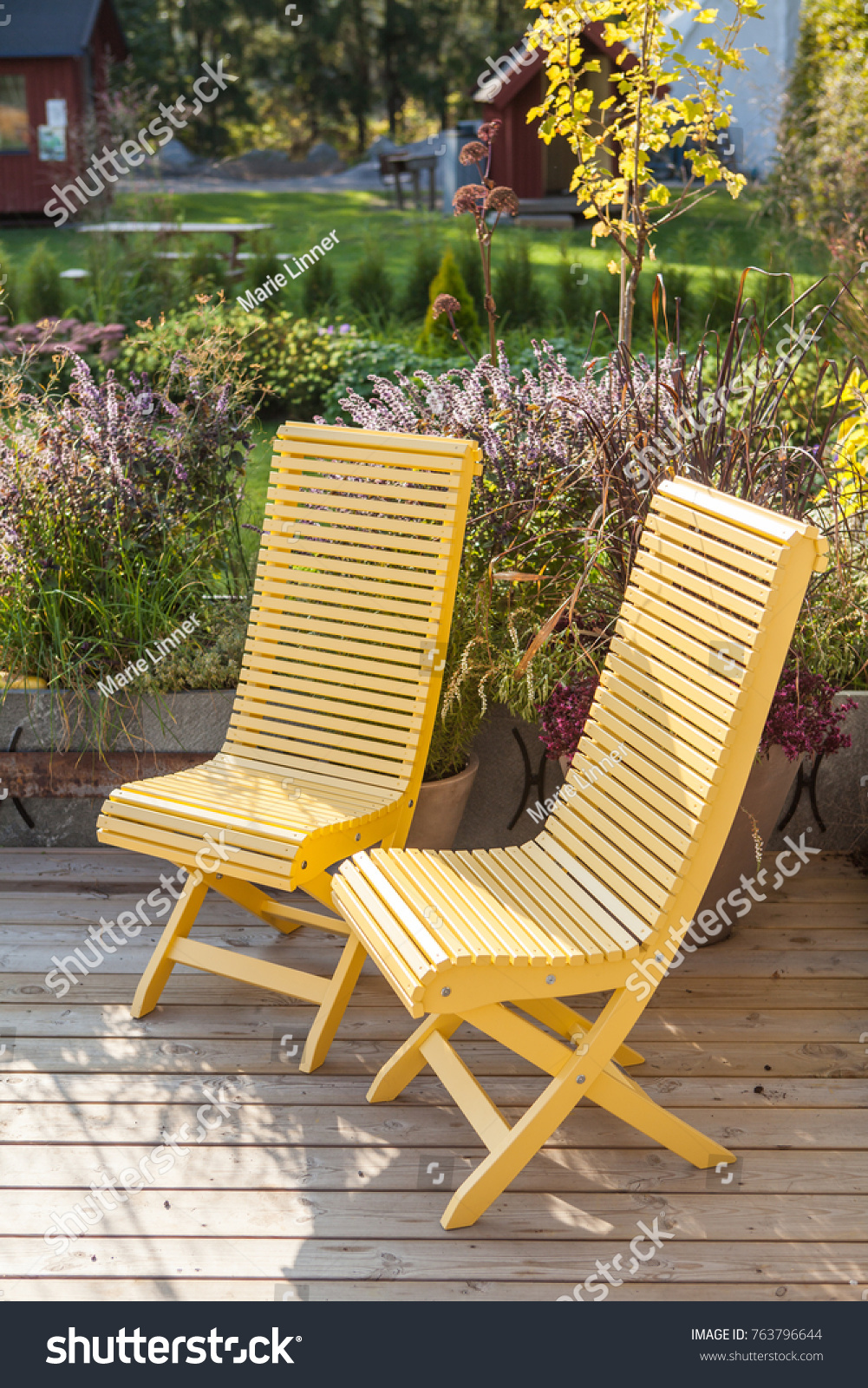 Two Yellow Painted Garden Chairs Standing Stock Photo (Edit ...