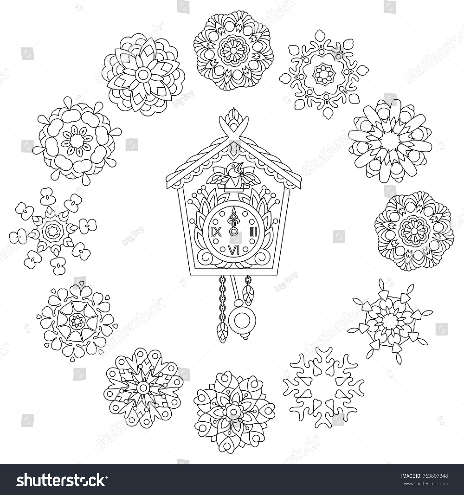 Christmas Coloring Page Old Antique Wall Stock Vector