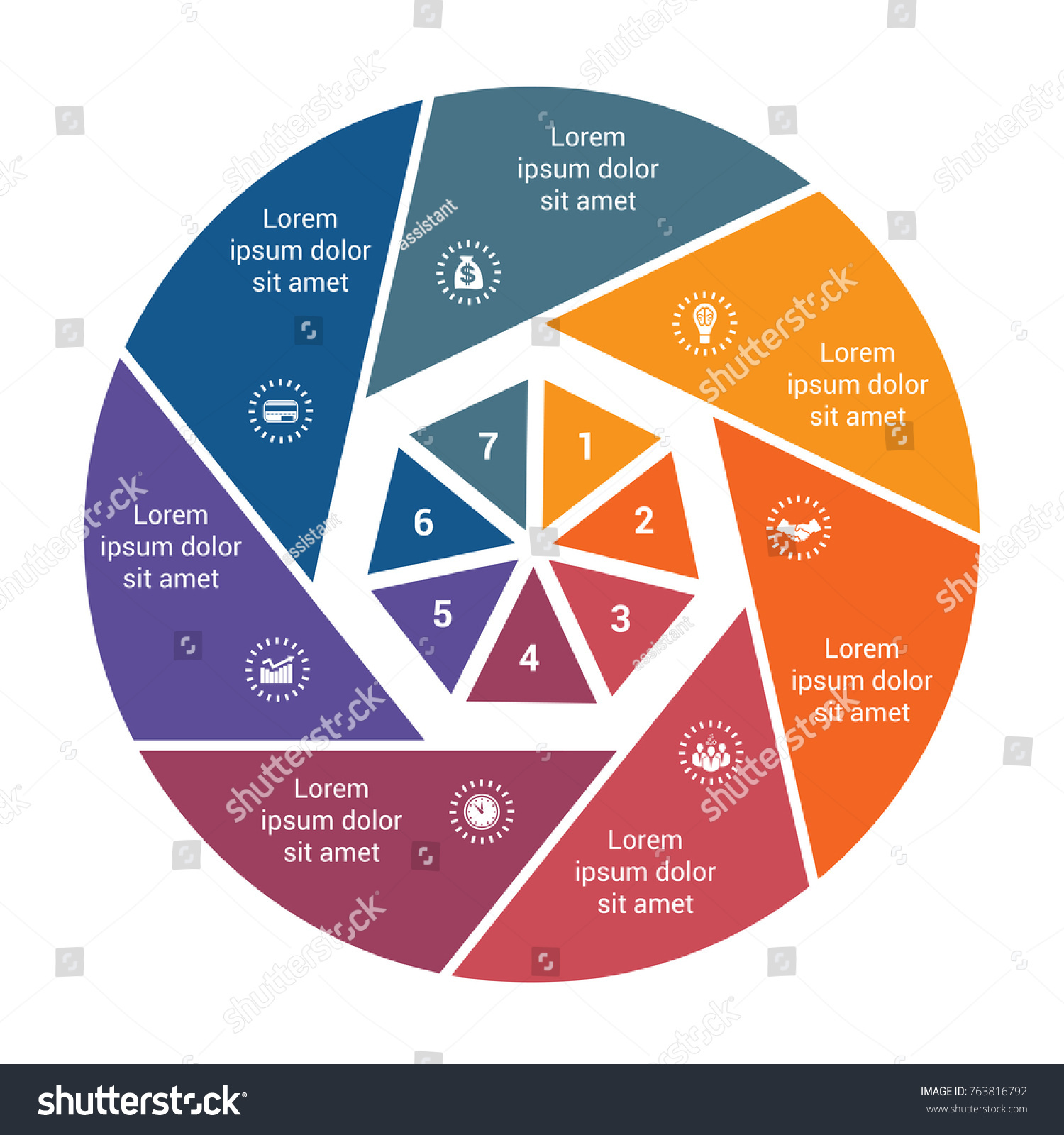 Infographic Business Pie Chart 7 Options Stock Vector Royalty Free