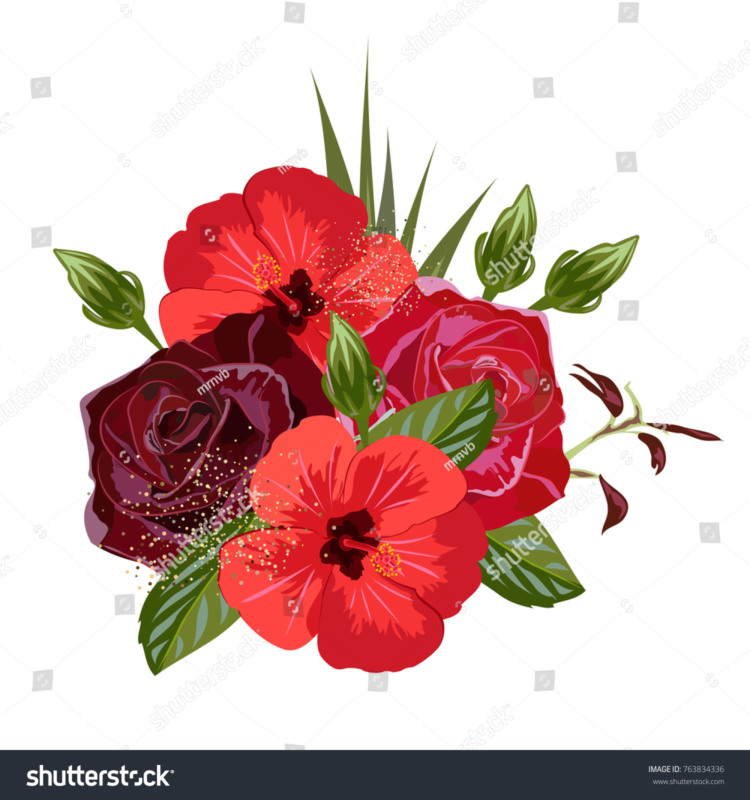 Bouquet Beautiful Roses Hibiscus Decor Elements Stock Illustration ...