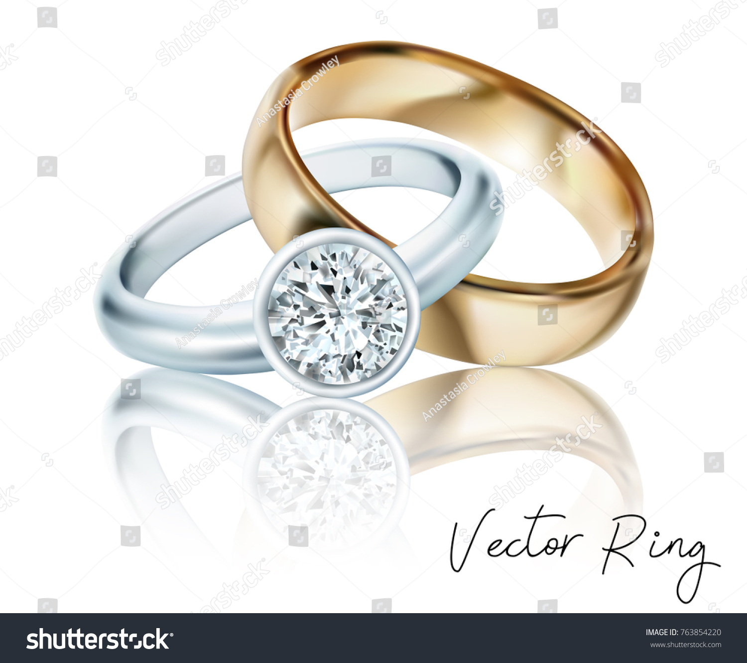 wedding rings gold silver palladium metal stock vector (royalty free