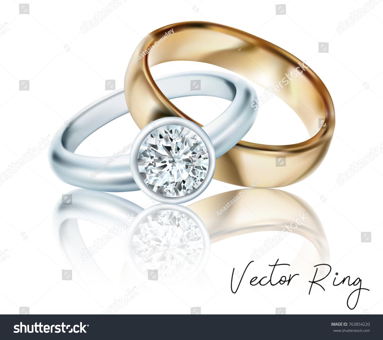 wedding rings gold silver palladium metal stock vector (royalty free
