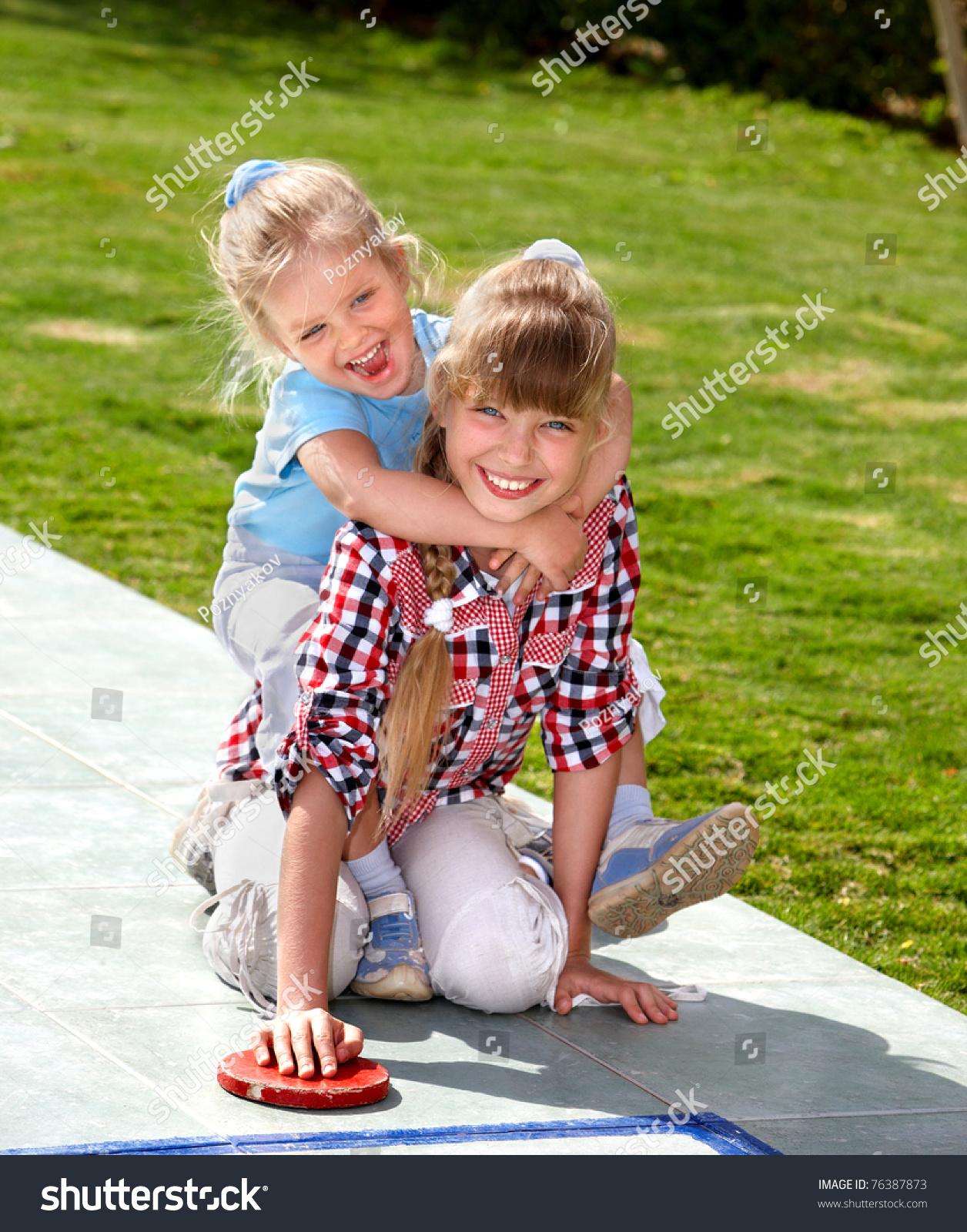 Children Playing Park Kids Outdoor Games Stock