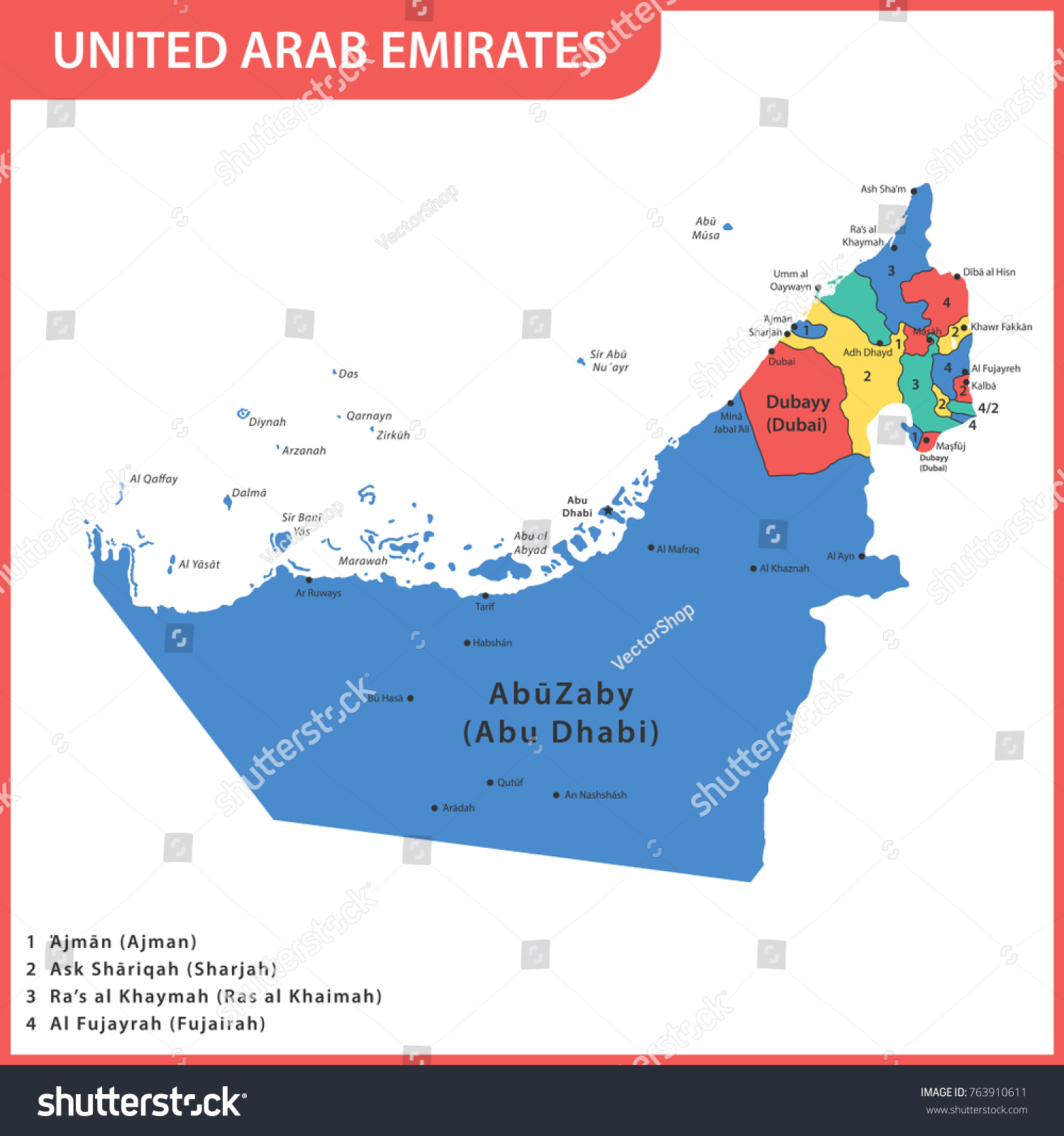 Detailed Map Uae Regions States Cities Stock Vector HD Royalty Free
